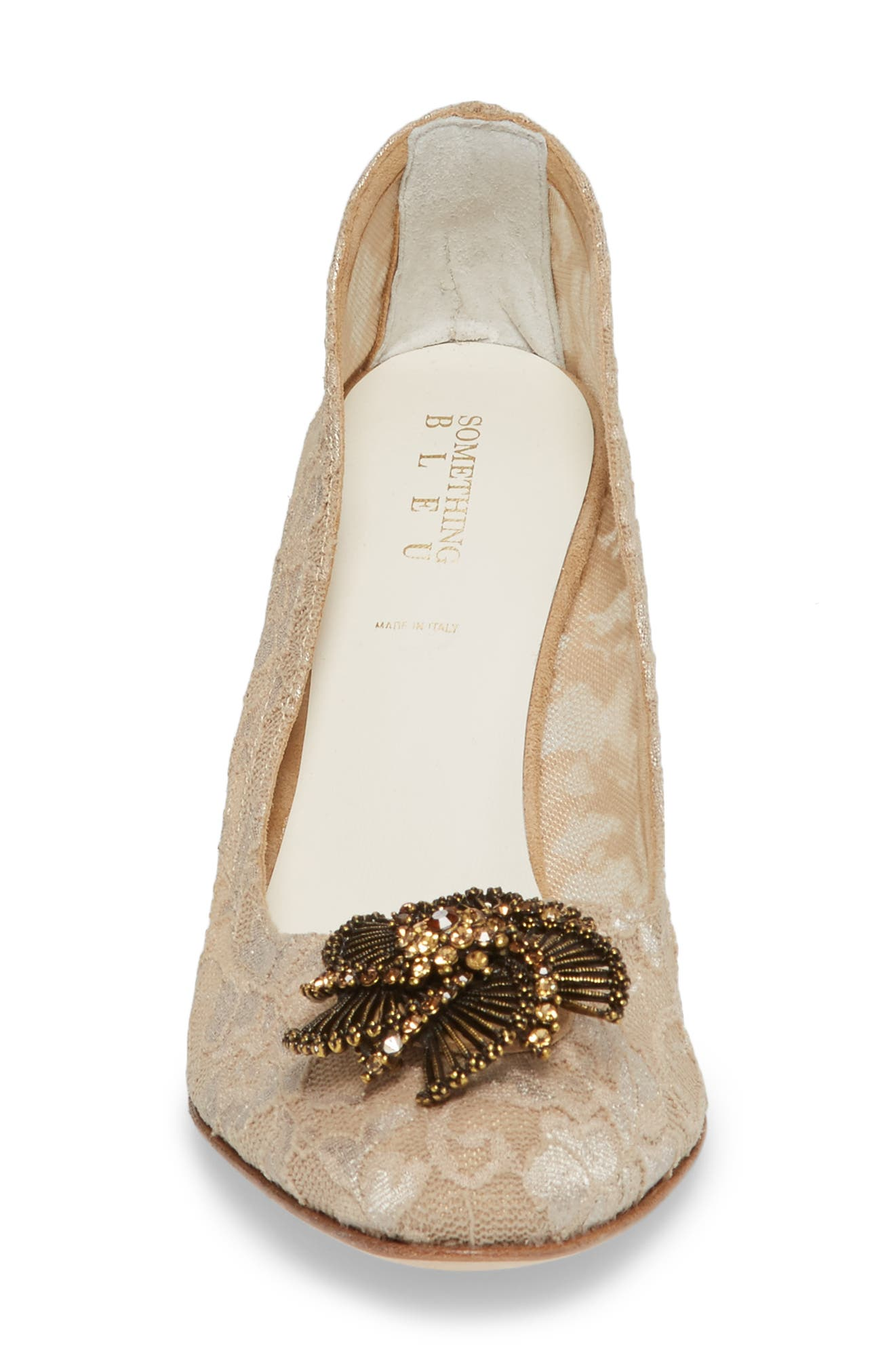 Valerie Embellished Pump,                             Alternate thumbnail 4, color,                             Taupe Lace