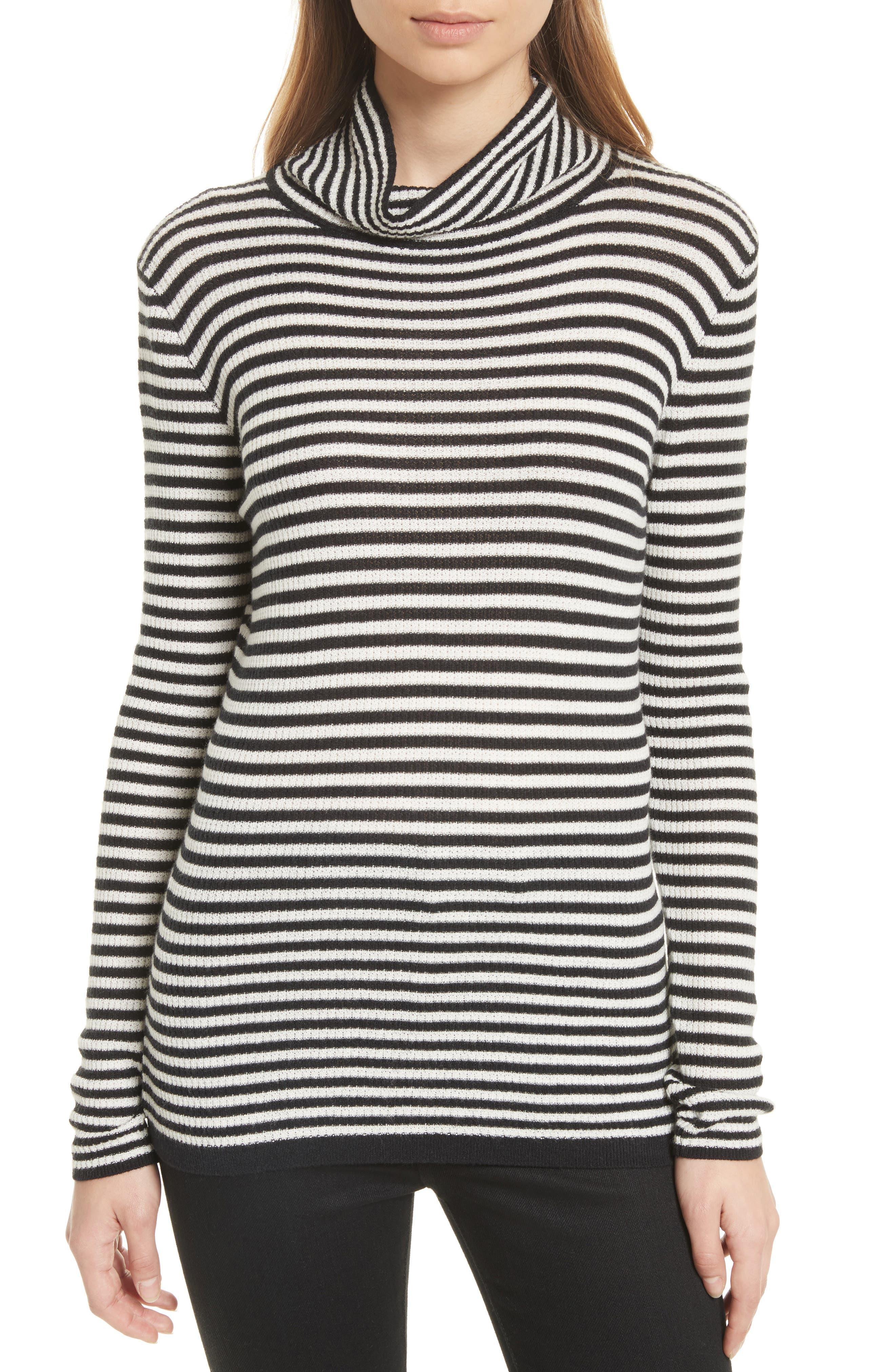 Zelene Stripe Cowl Neck Sweater,                             Main thumbnail 1, color,                             Caviar/ Porceclain