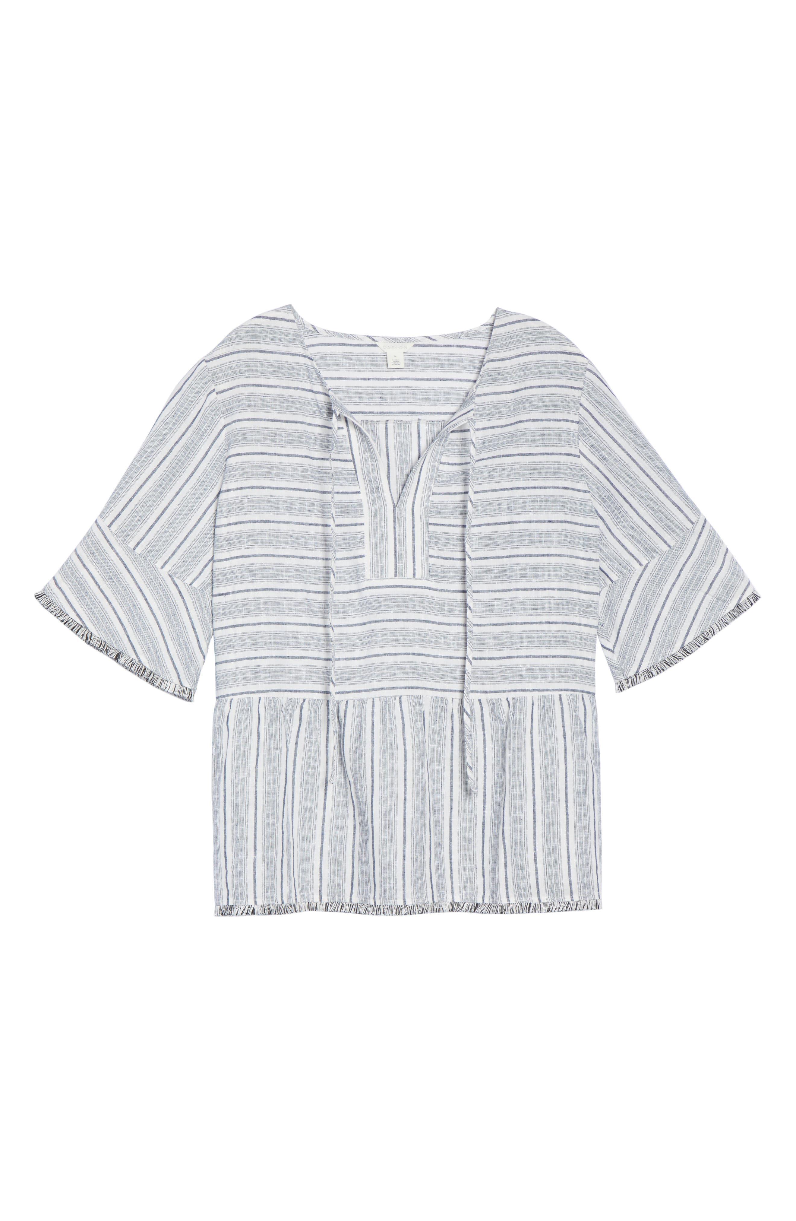 Stripe Fray Edge Linen Blend Top,                             Alternate thumbnail 6, color,                             Ivory- Navy Stripe