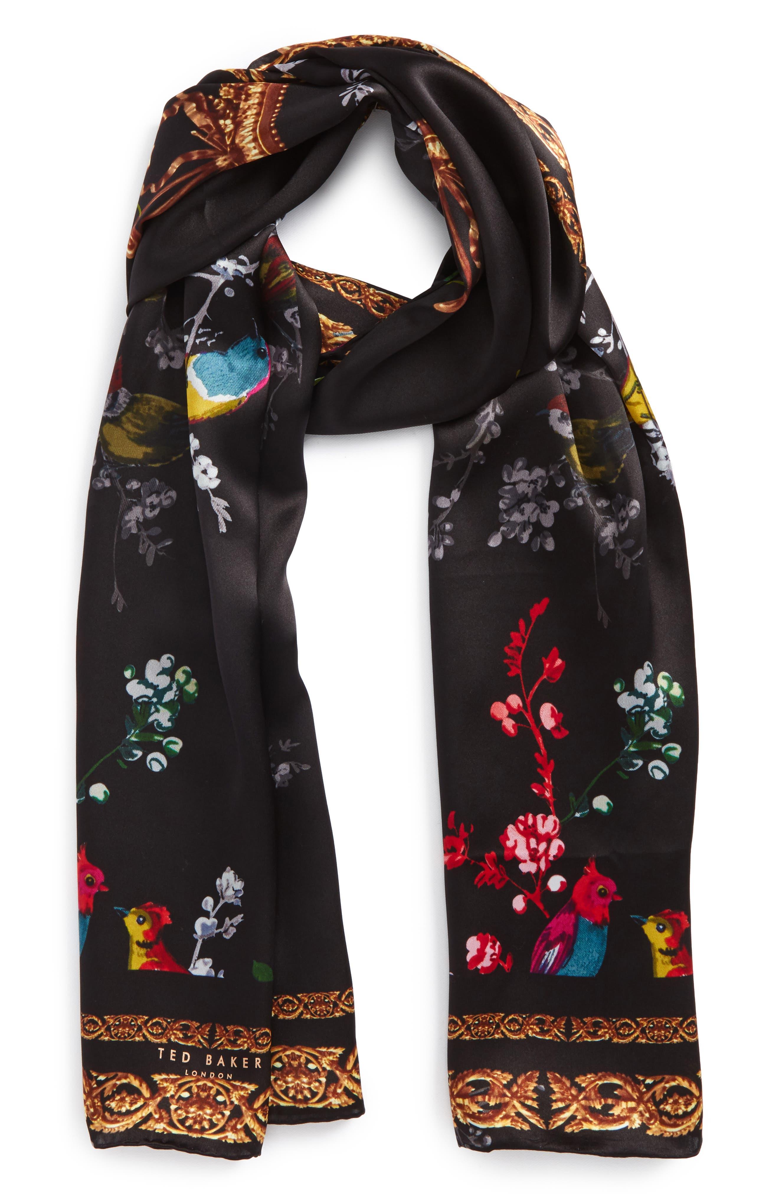 Opulent Fauna Silk Scarf,                             Main thumbnail 1, color,                             Black
