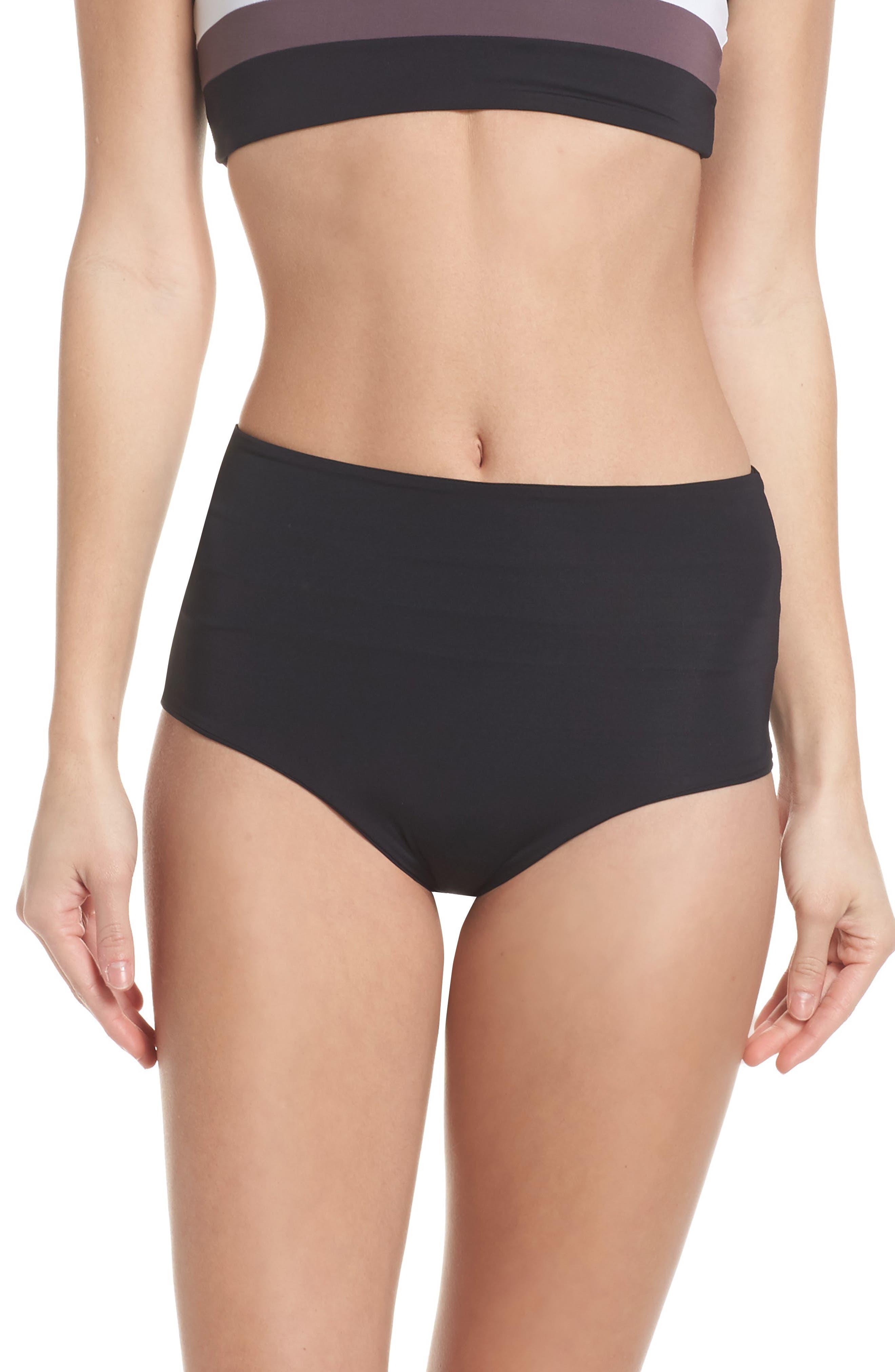 Portia Reversible Colorblock Bikini Bottoms,                             Alternate thumbnail 2, color,                             Black