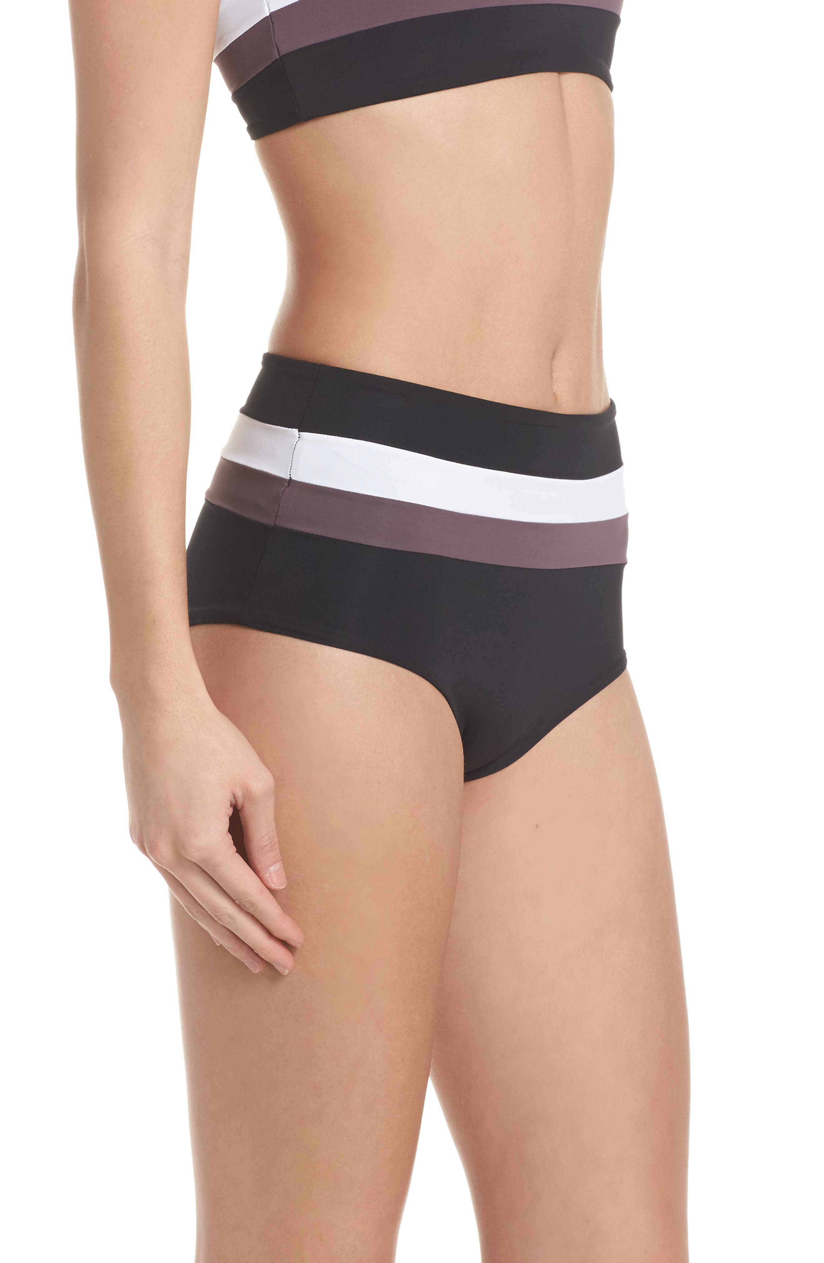 Portia Reversible Colorblock Bikini Bottoms,                             Alternate thumbnail 4, color,                             Black