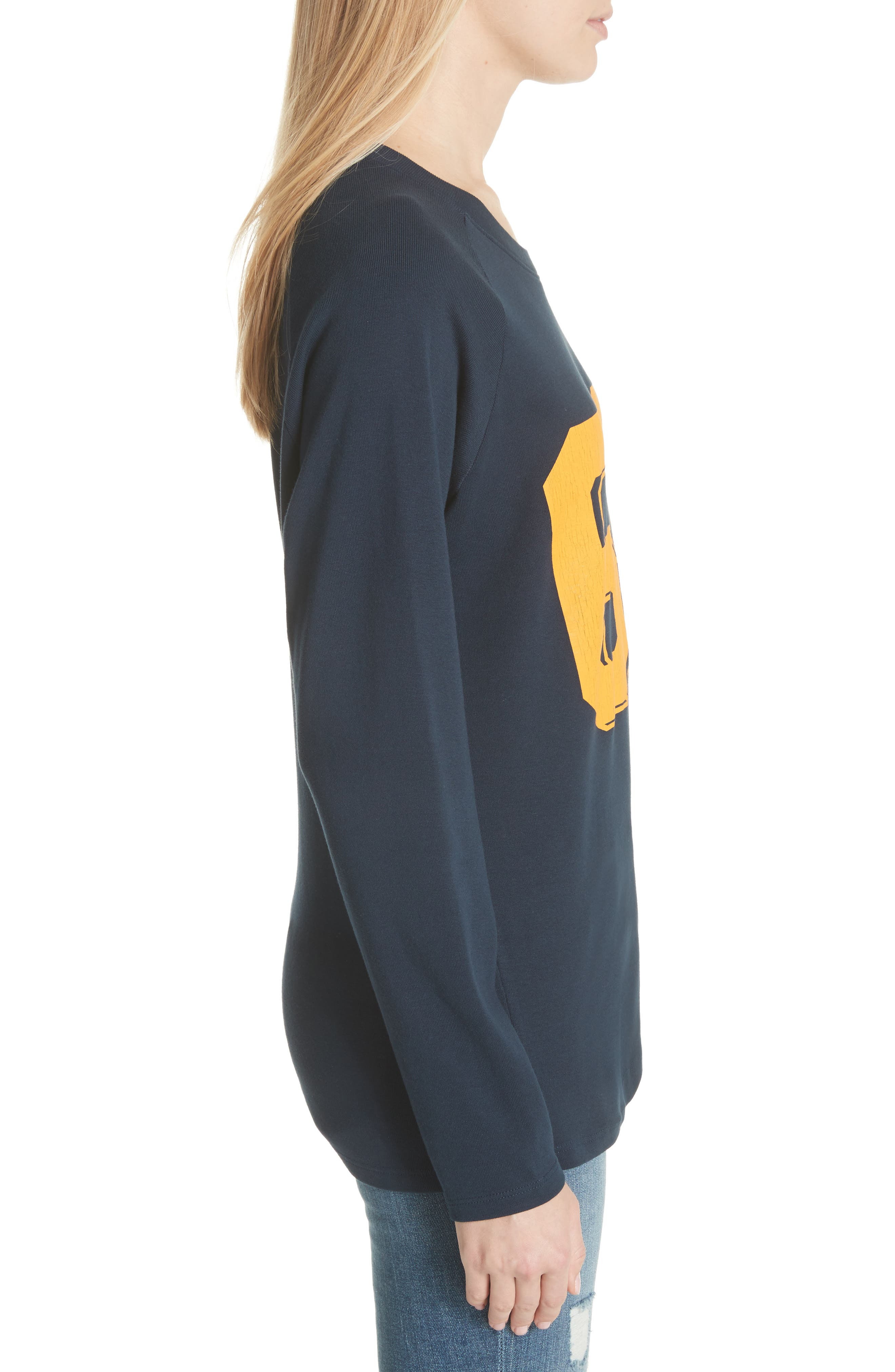 Collegiate Raglan Sweatshirt,                             Alternate thumbnail 3, color,                             Navy