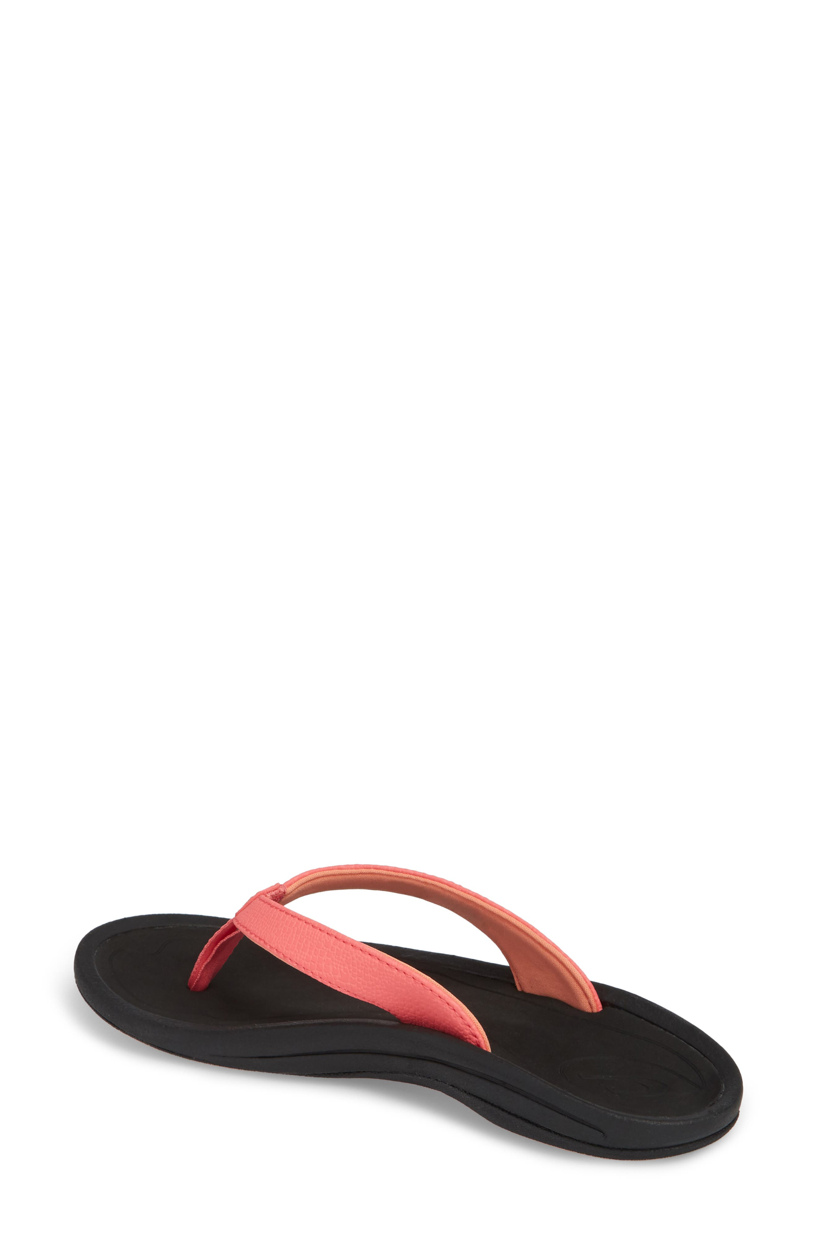 'Kulapa Kai' Thong Sandal,                             Alternate thumbnail 2, color,                             Guava Jelly/ Black Faux