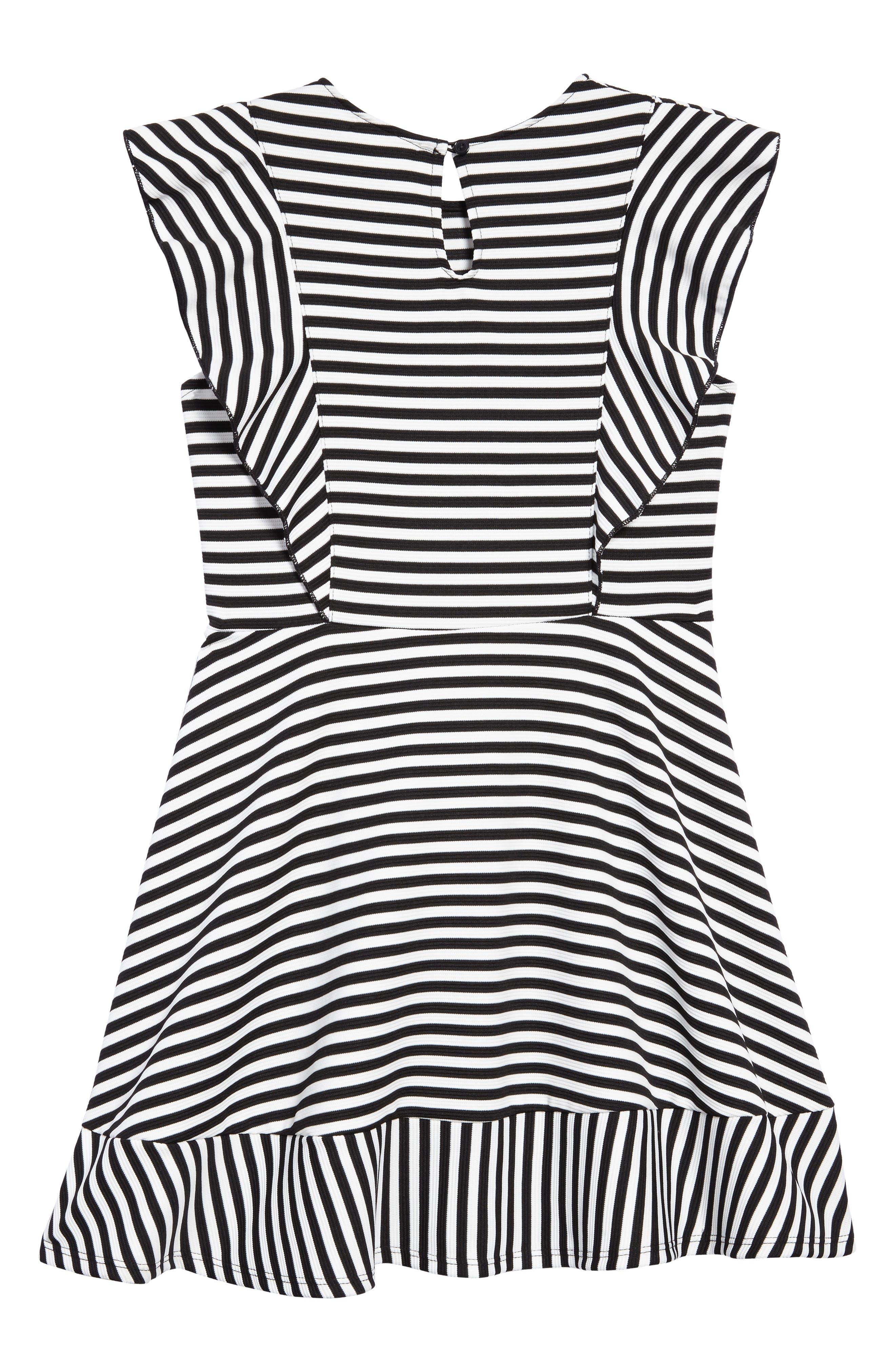 Stripe Skater Dress,                             Alternate thumbnail 2, color,                             Black