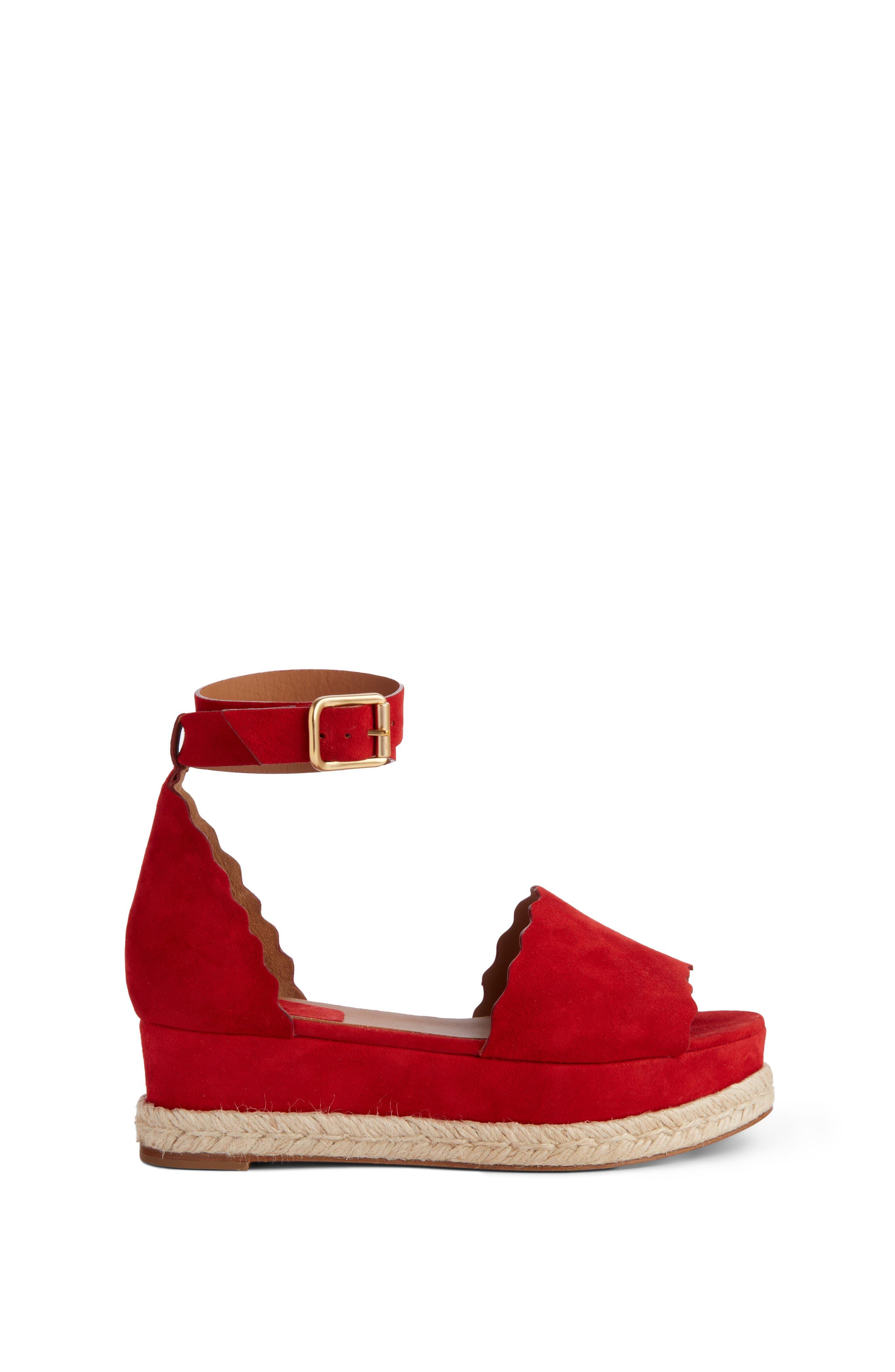 Lauren Espadrille Wedge Sandal,                             Alternate thumbnail 3, color,                             Red Flame