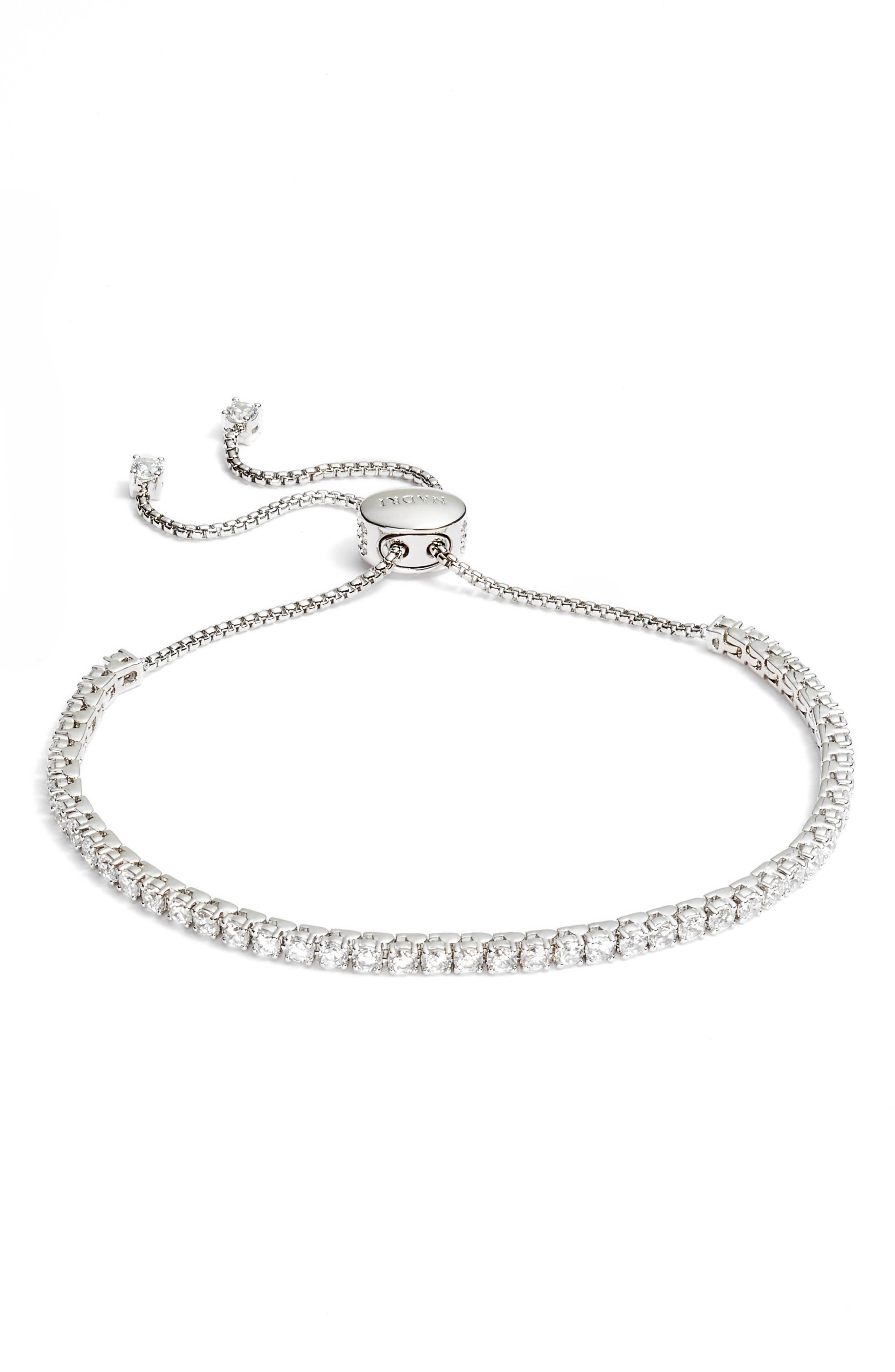 Cubic Zirconia Tennis Bracelet,                             Main thumbnail 1, color,                             Silver