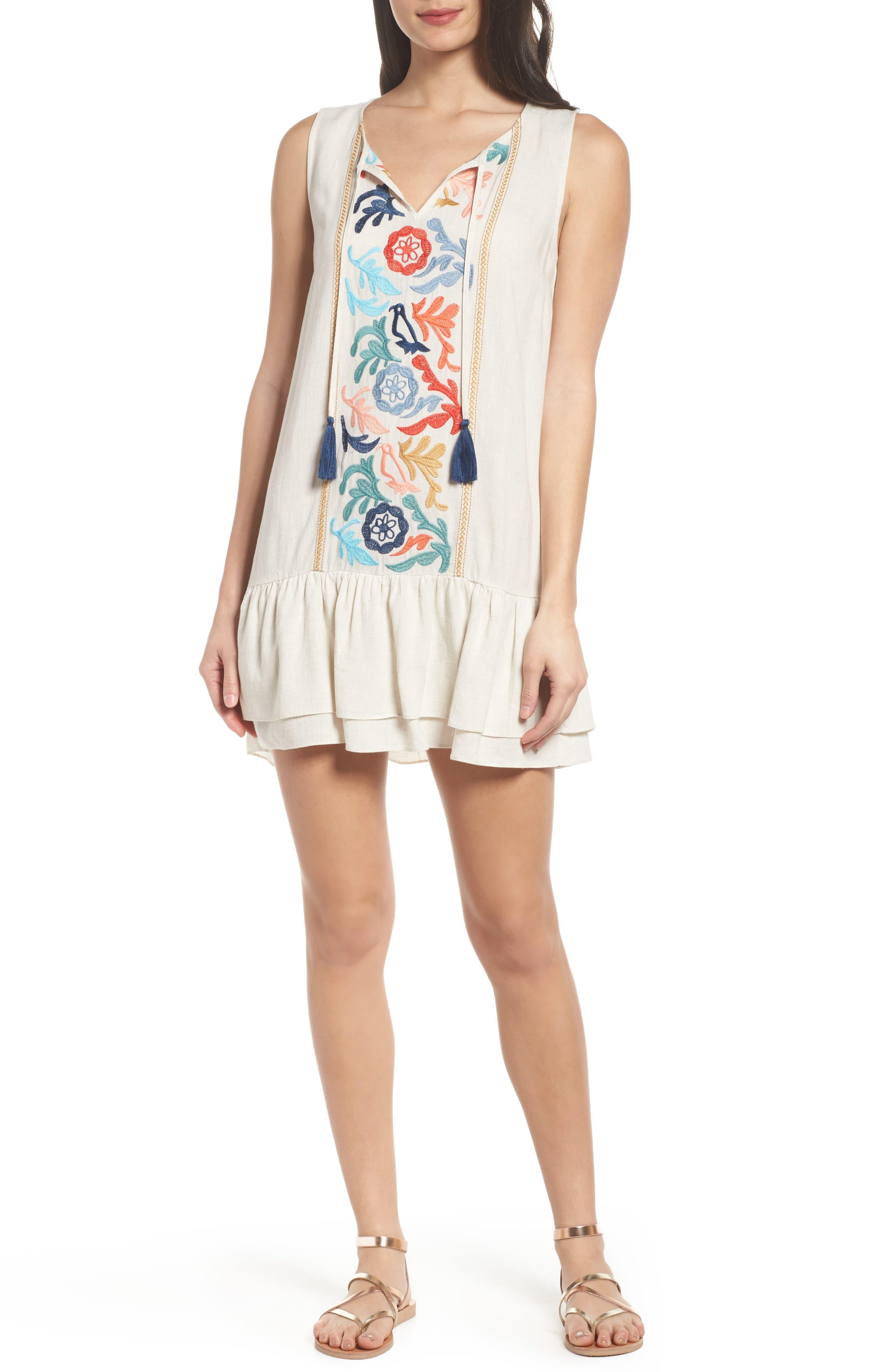 Embroidered Drop Waist Dress,                             Main thumbnail 1, color,                             Cream