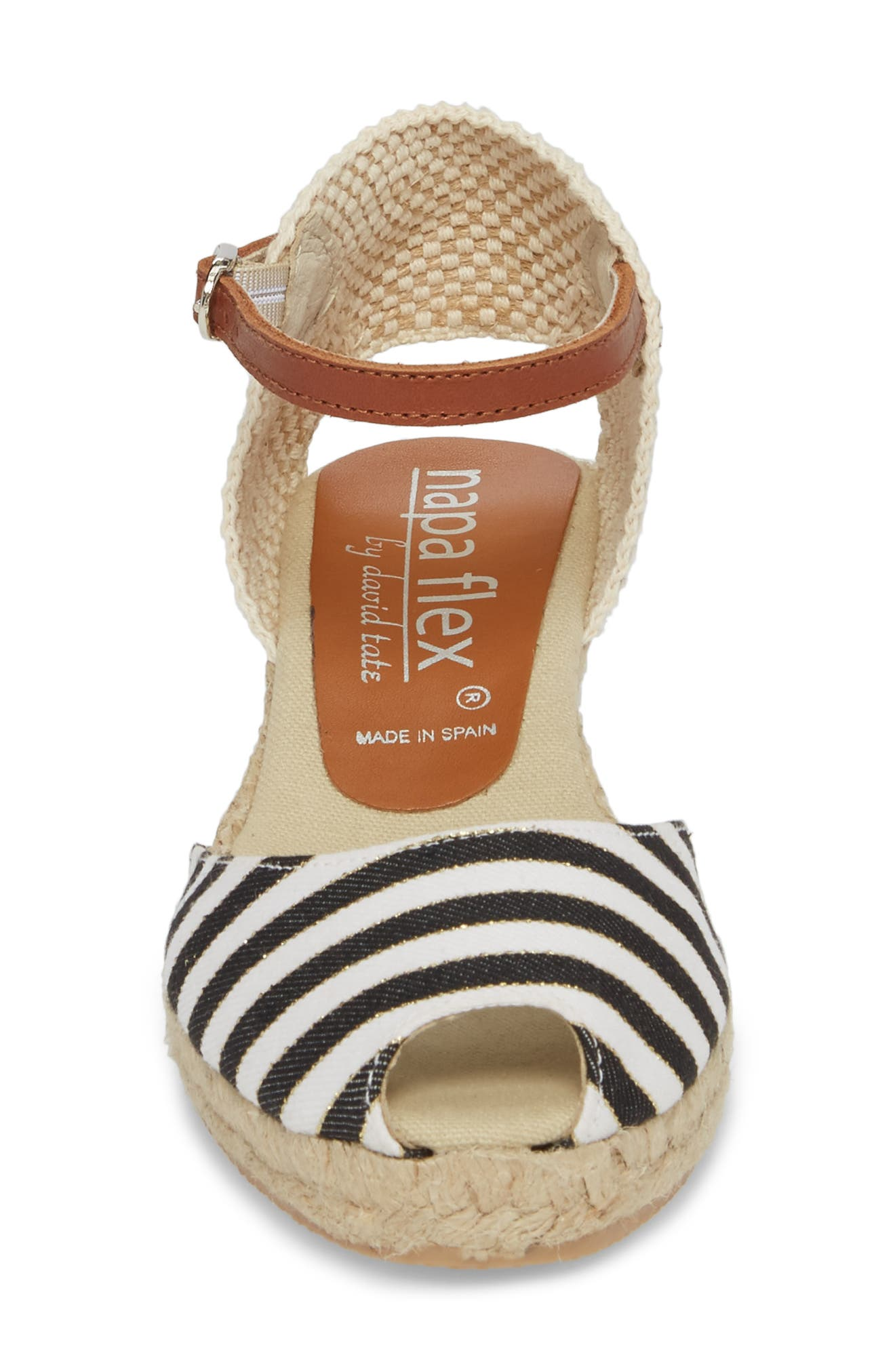Cyprus Espadrille Wedge,                             Alternate thumbnail 4, color,                             Black Stripe Fabric