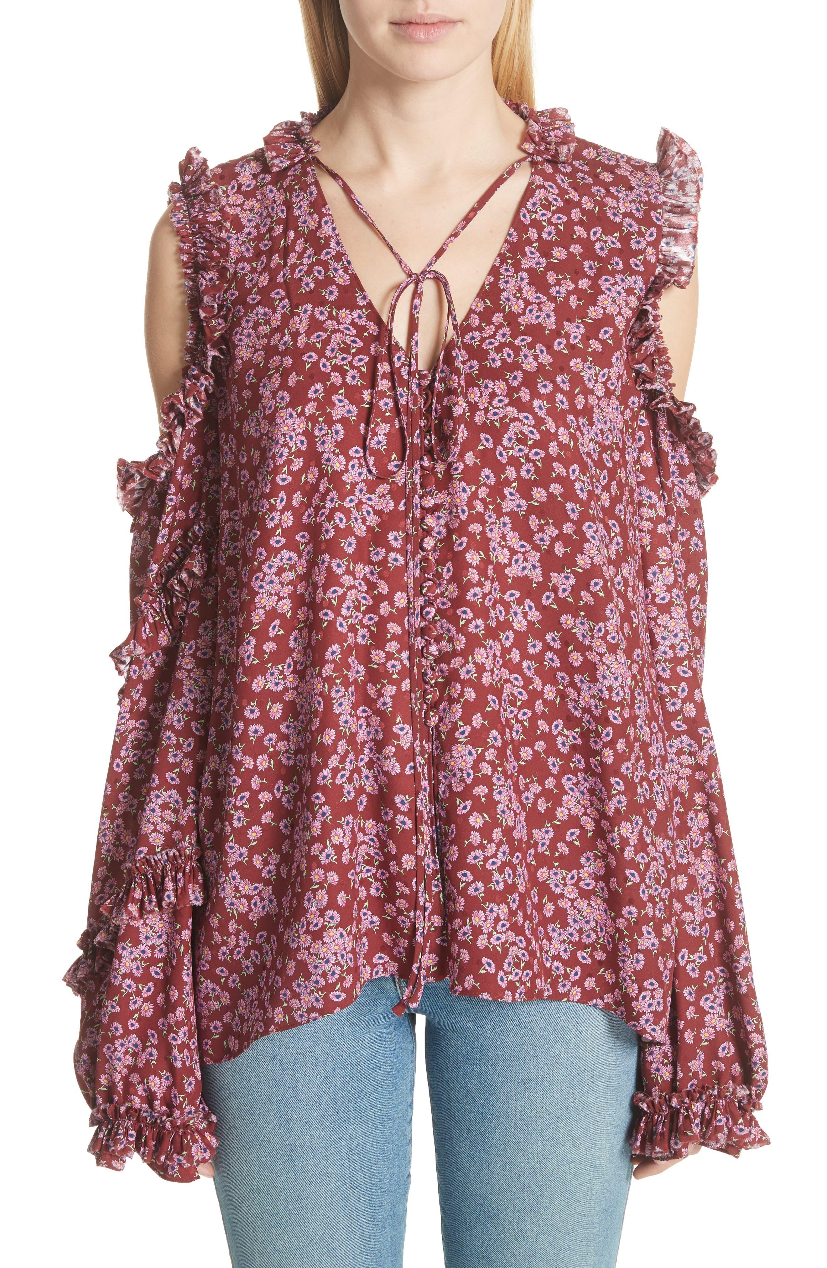 Main Image - Magda Butrym Floral Silk Cold Shoulder Top