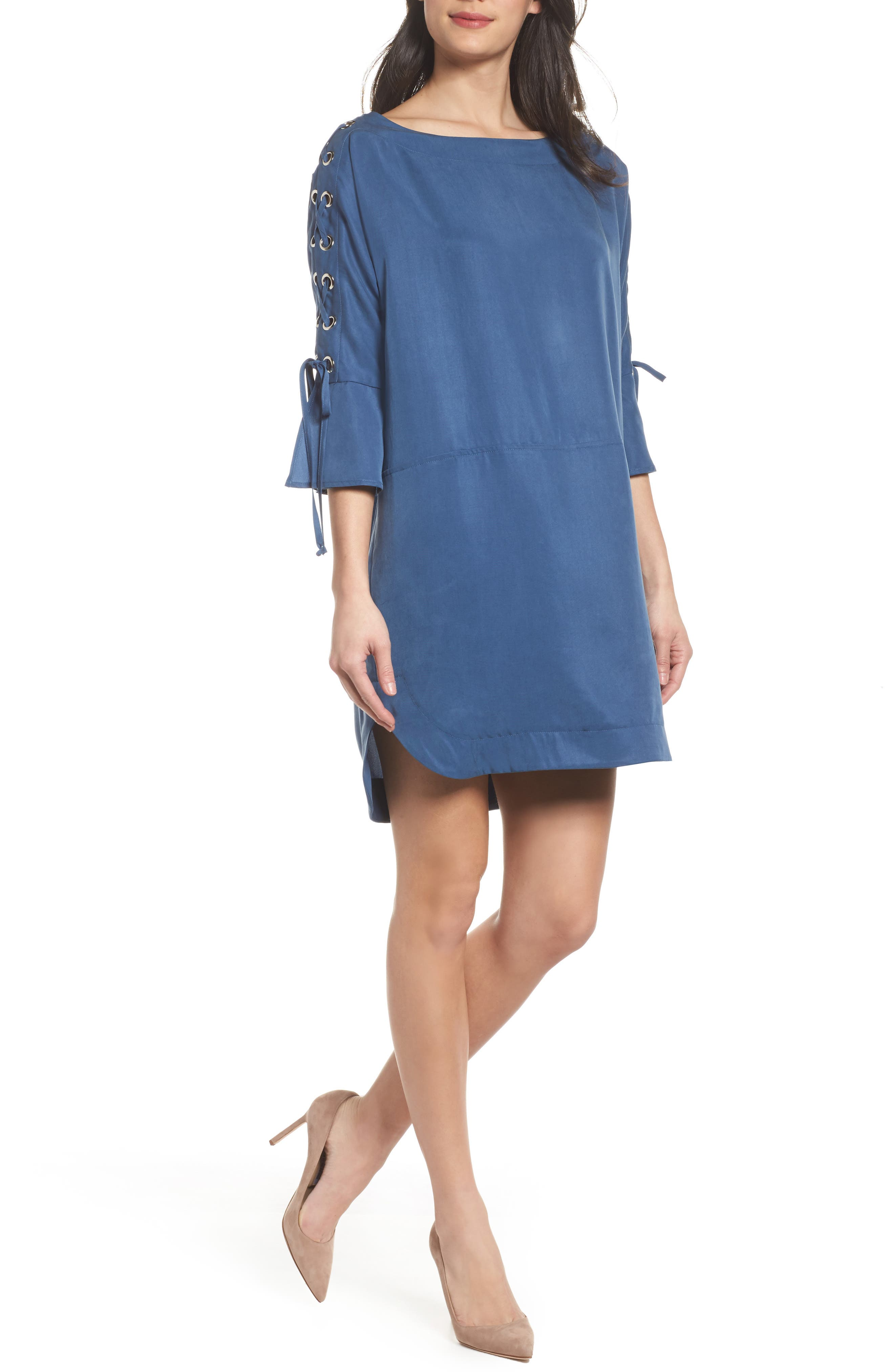 Lace-Up Shift Dress,                         Main,                         color, Denim