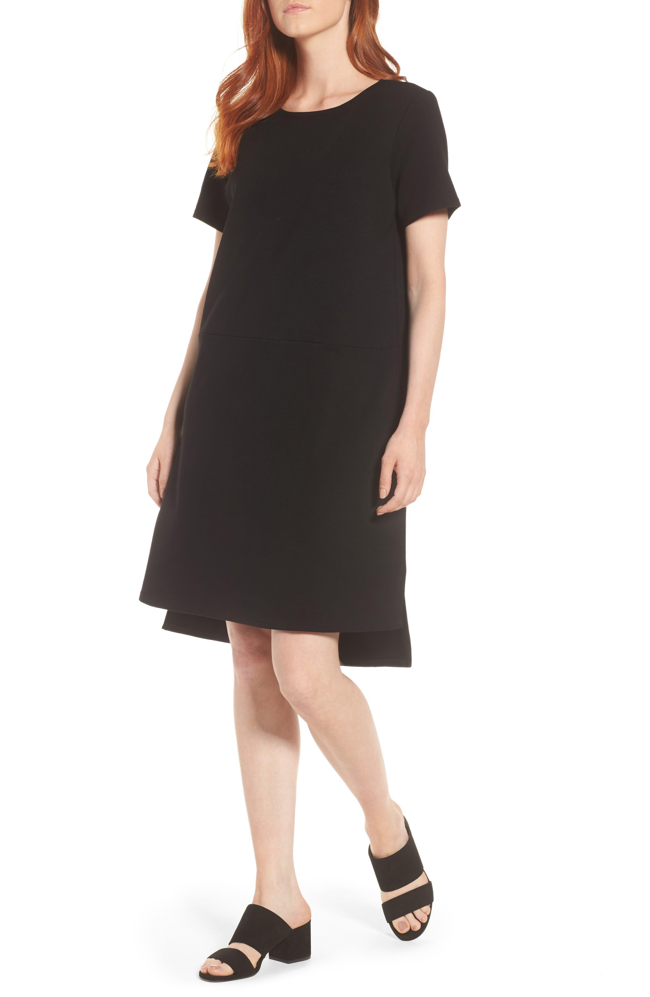 Tencel<sup>®</sup> Lyocell Blend Knit Shift Dress,                             Main thumbnail 1, color,                             Black