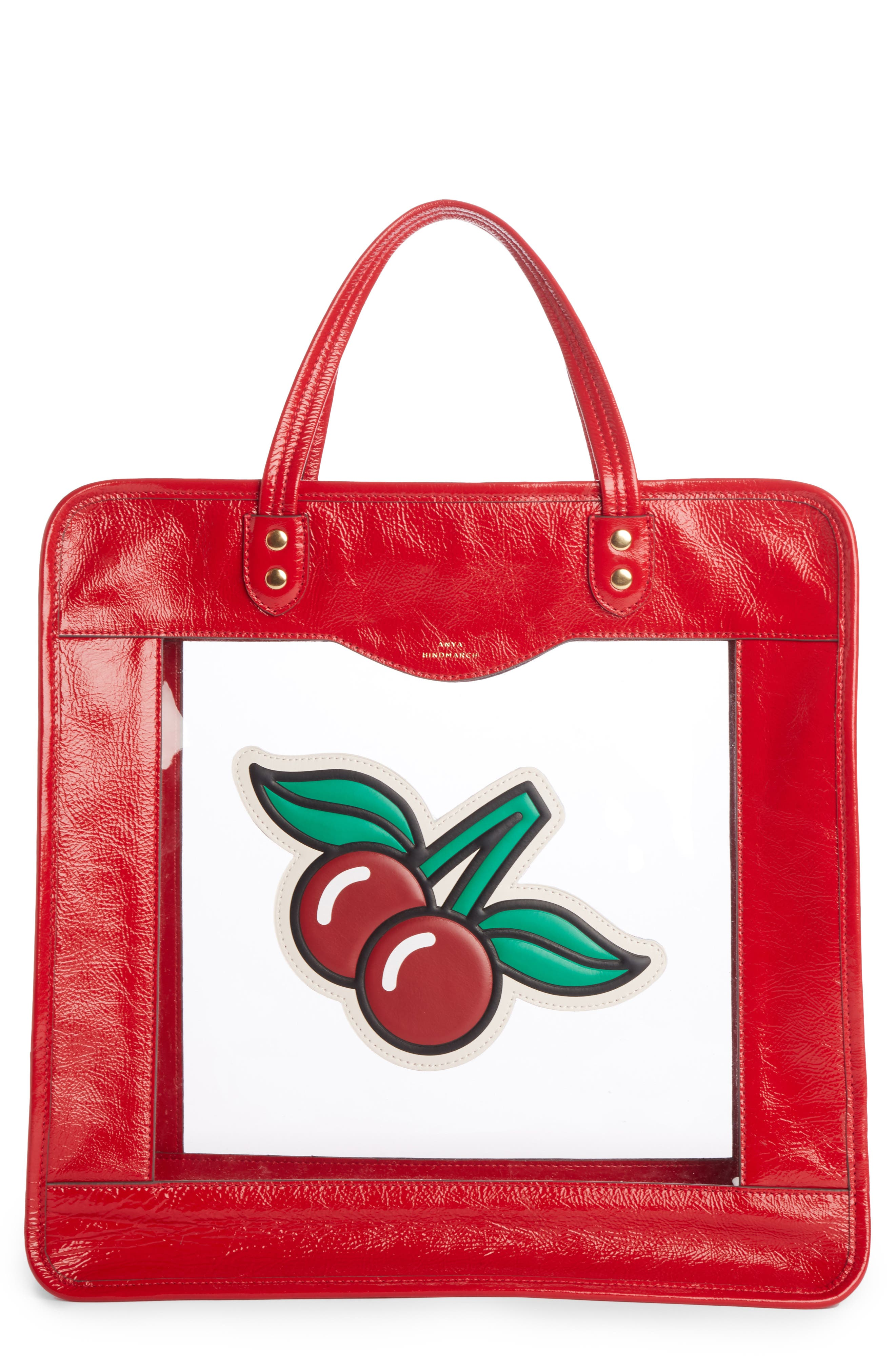 Rainy Day Cherries Tote,                             Main thumbnail 1, color,                             Red