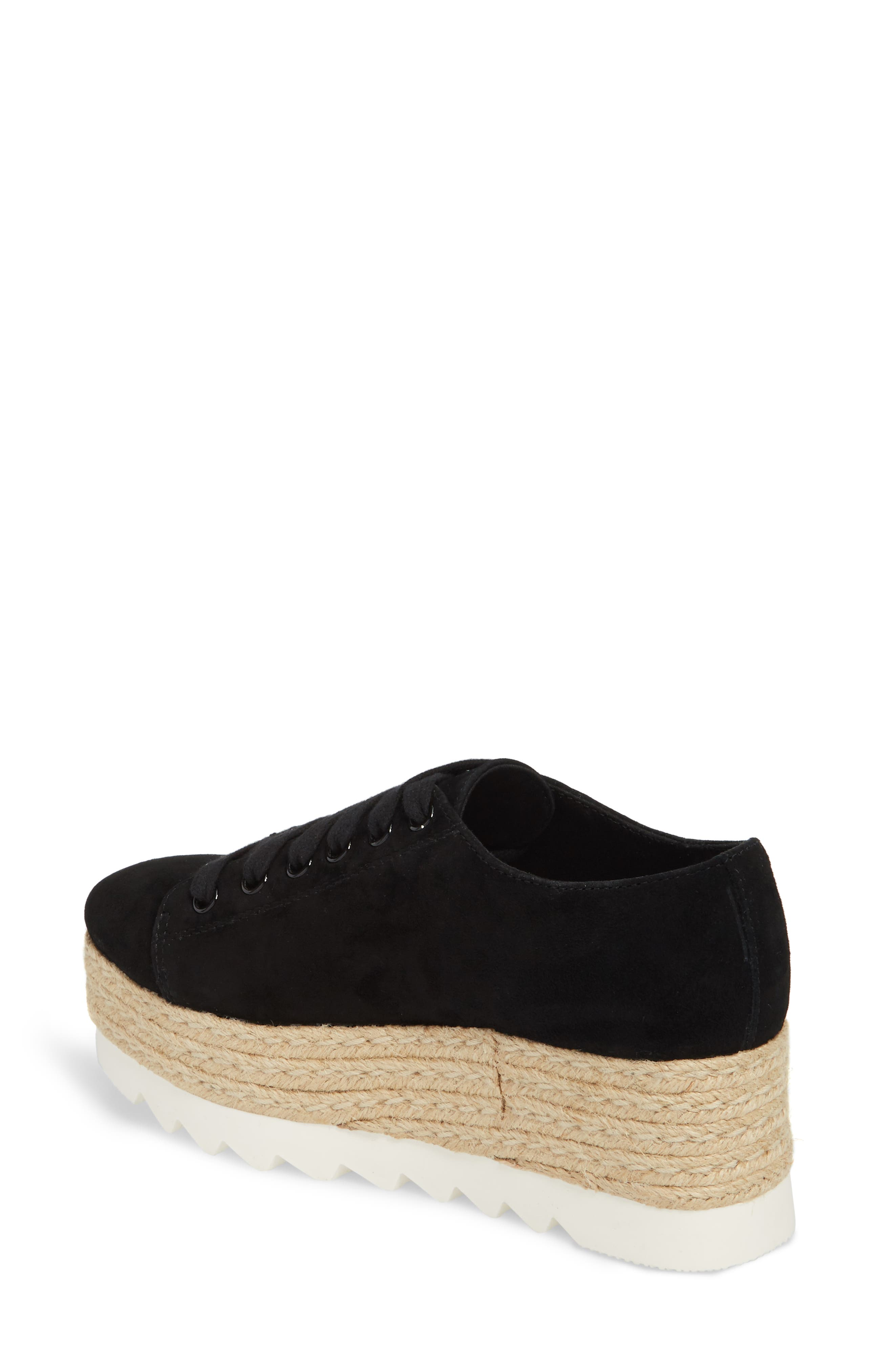 Karma Espadrille Platform Sneaker,                             Alternate thumbnail 2, color,                             Black Sued