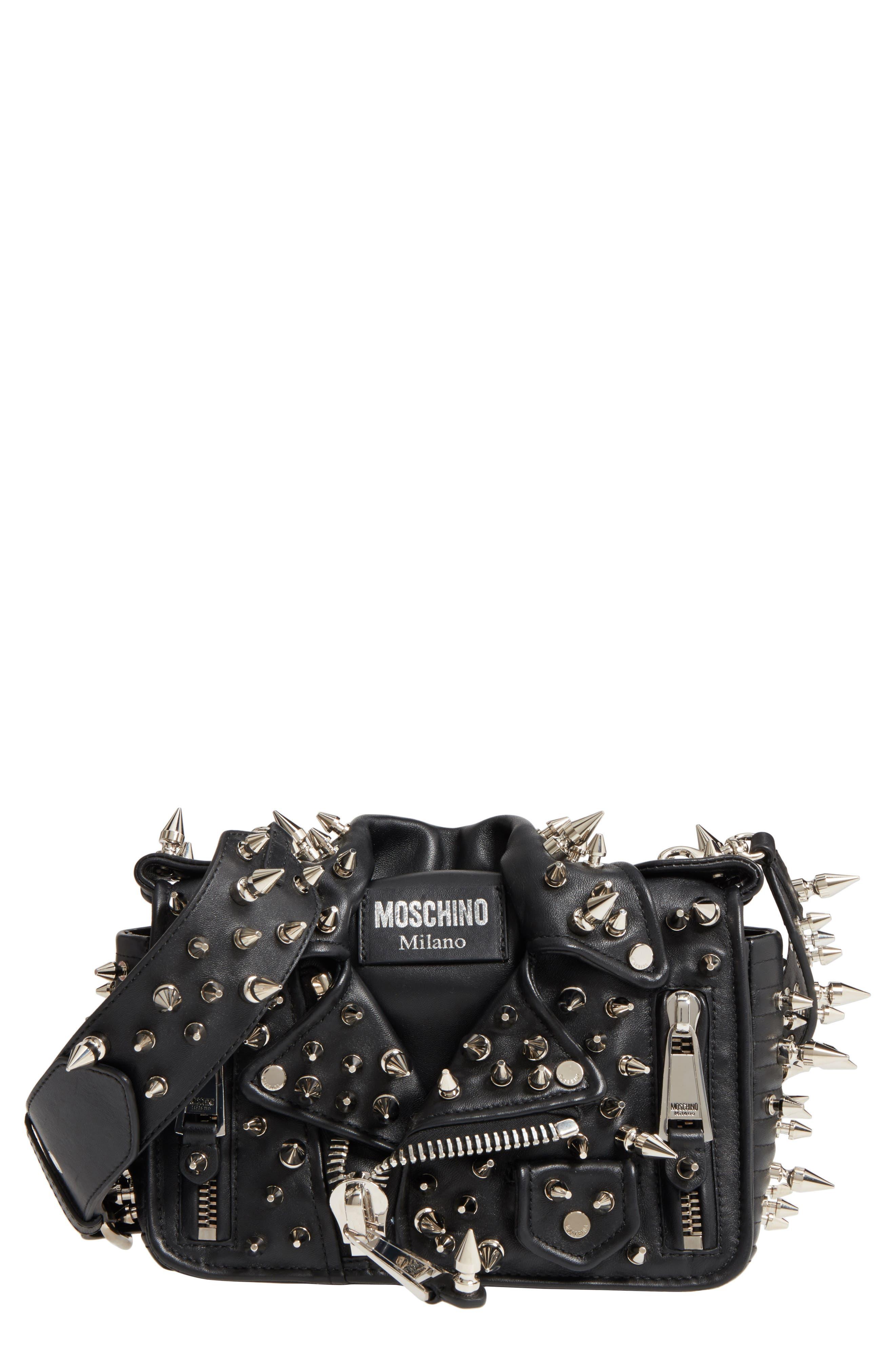 Moschino Spiked Biker Jacket Crossbody Bag