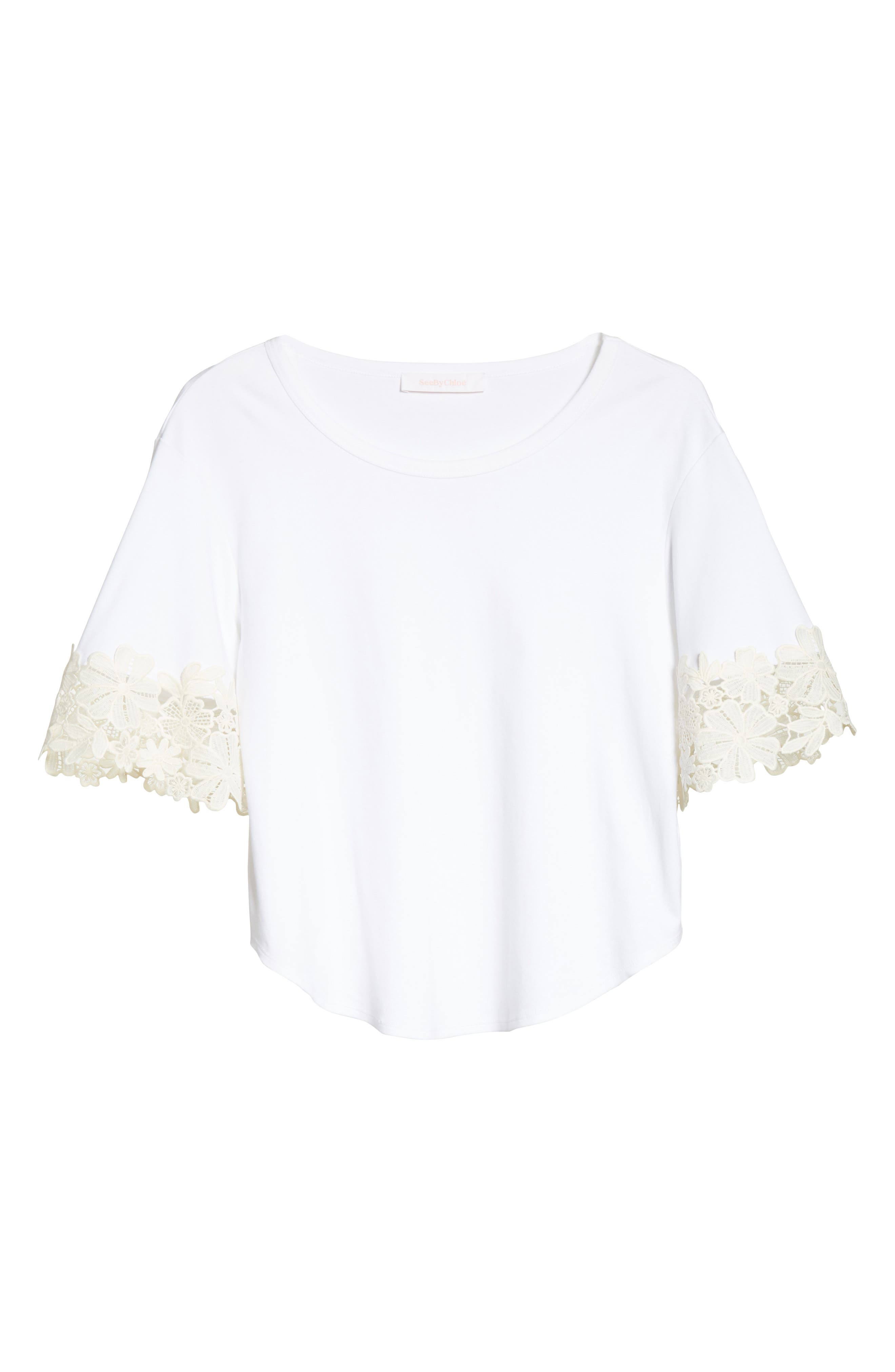 Lace Cuff Tee,                             Alternate thumbnail 6, color,                             White