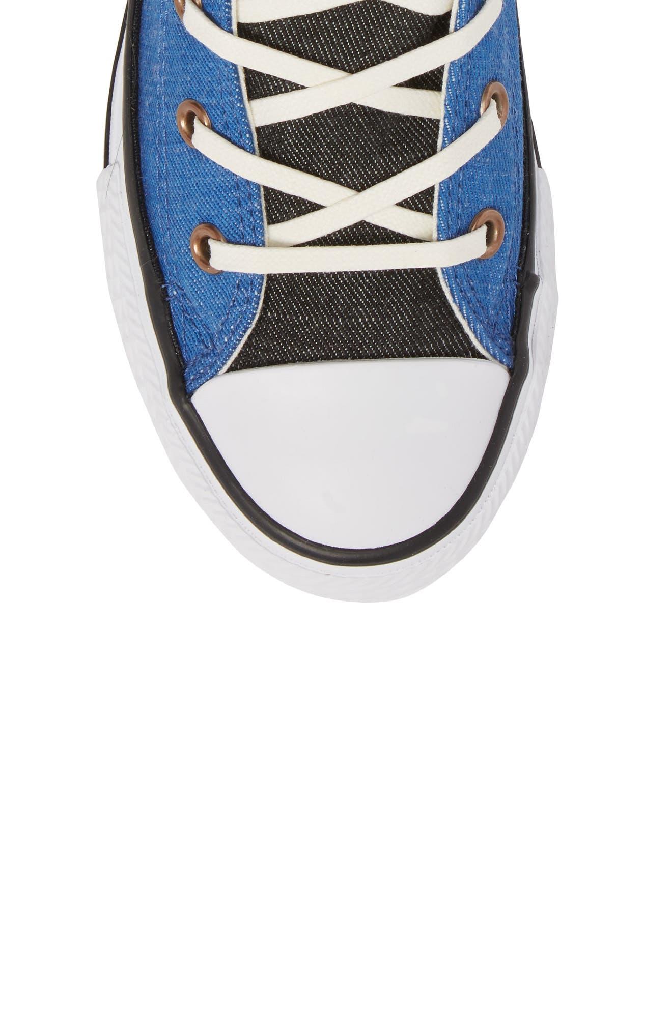 Chuck Taylor<sup>®</sup> All Star<sup>®</sup> Chambray High Top Sneaker,                             Alternate thumbnail 5, color,                             Nightfall Blue
