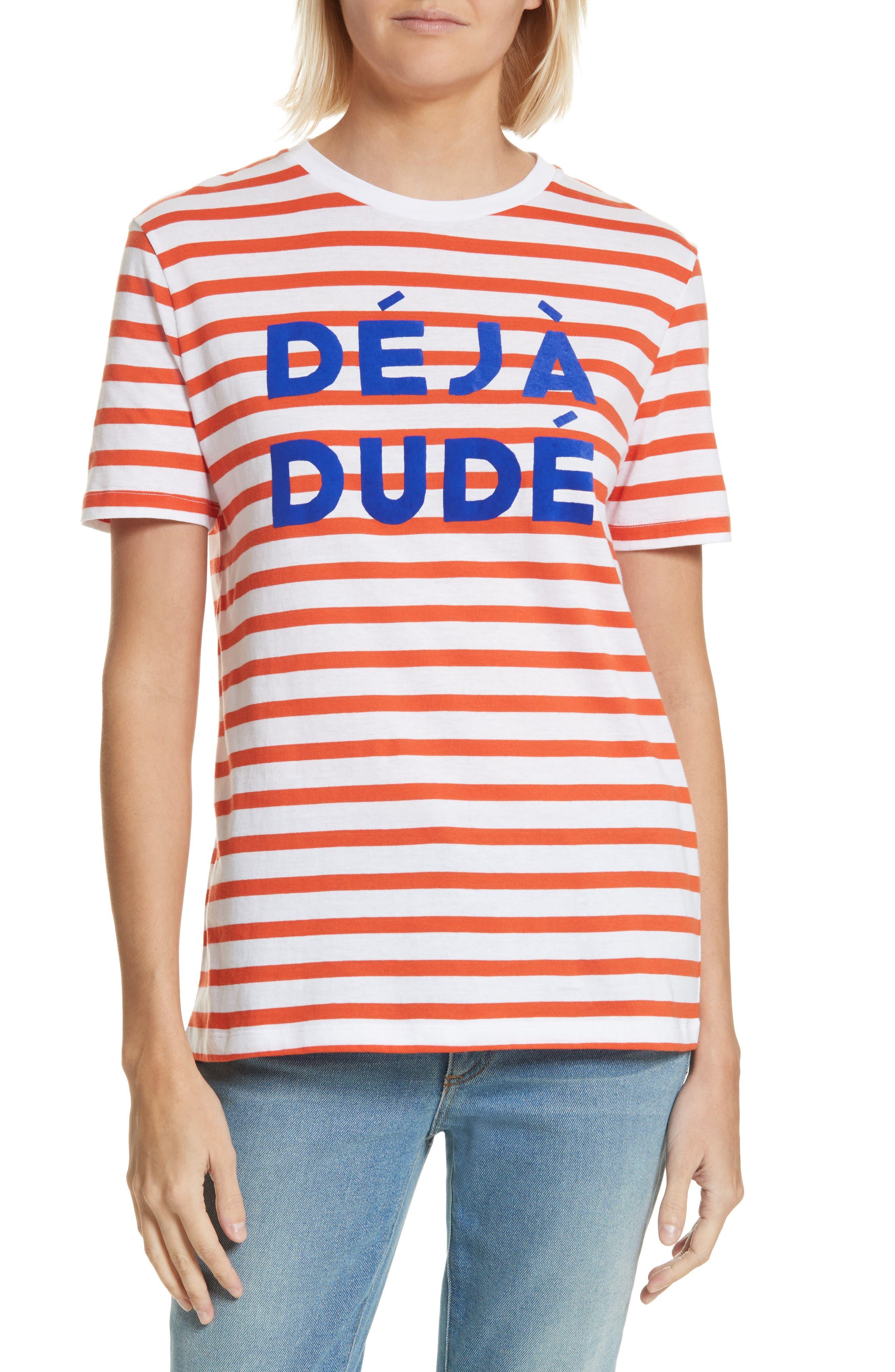 être cécile Déjà Dudé Tee,                             Main thumbnail 1, color,                             Tomato Breton Stripe