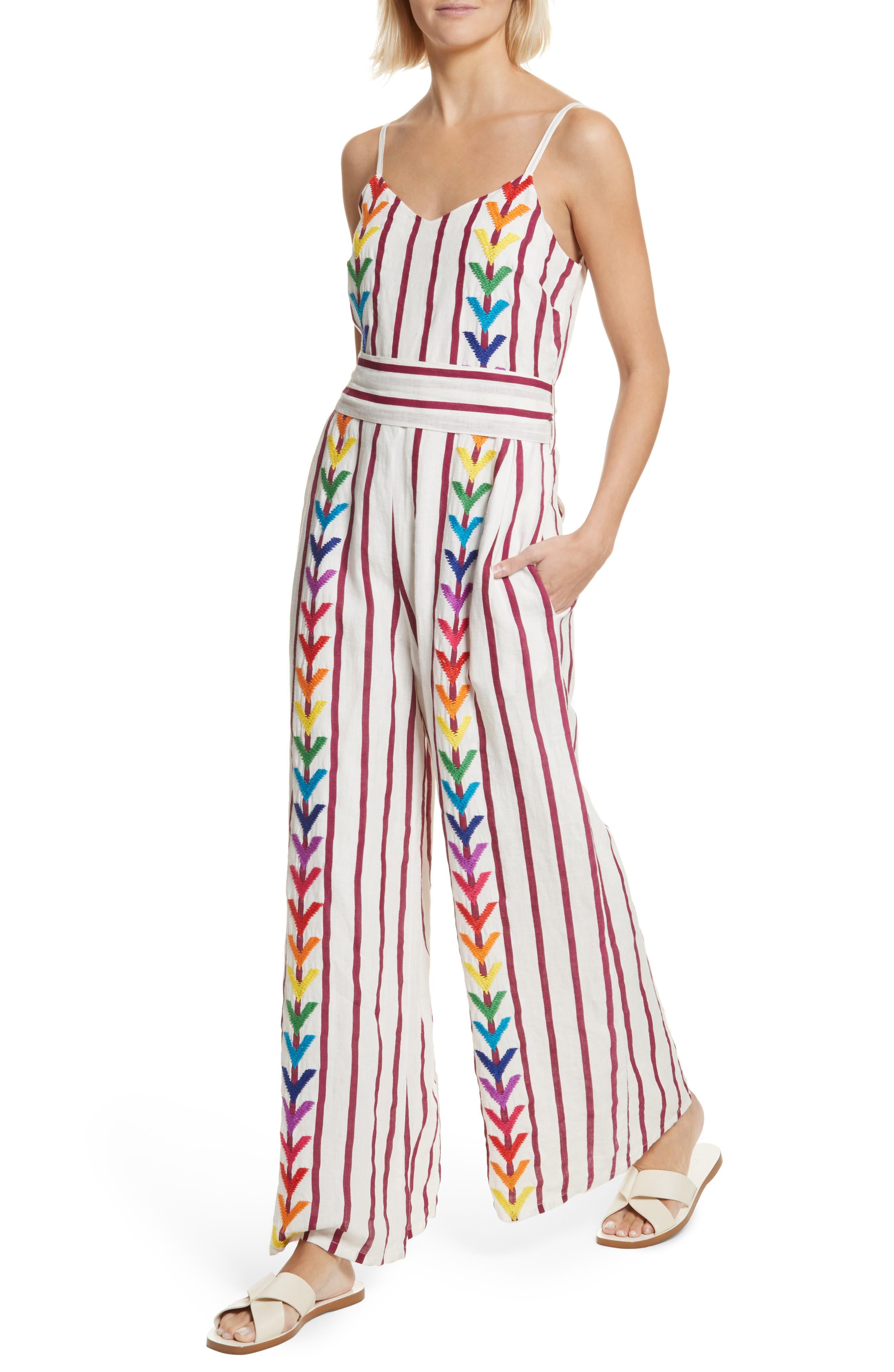 Lisa Stripe Jumpsuit,                             Alternate thumbnail 4, color,                             Off White/ Burgundy