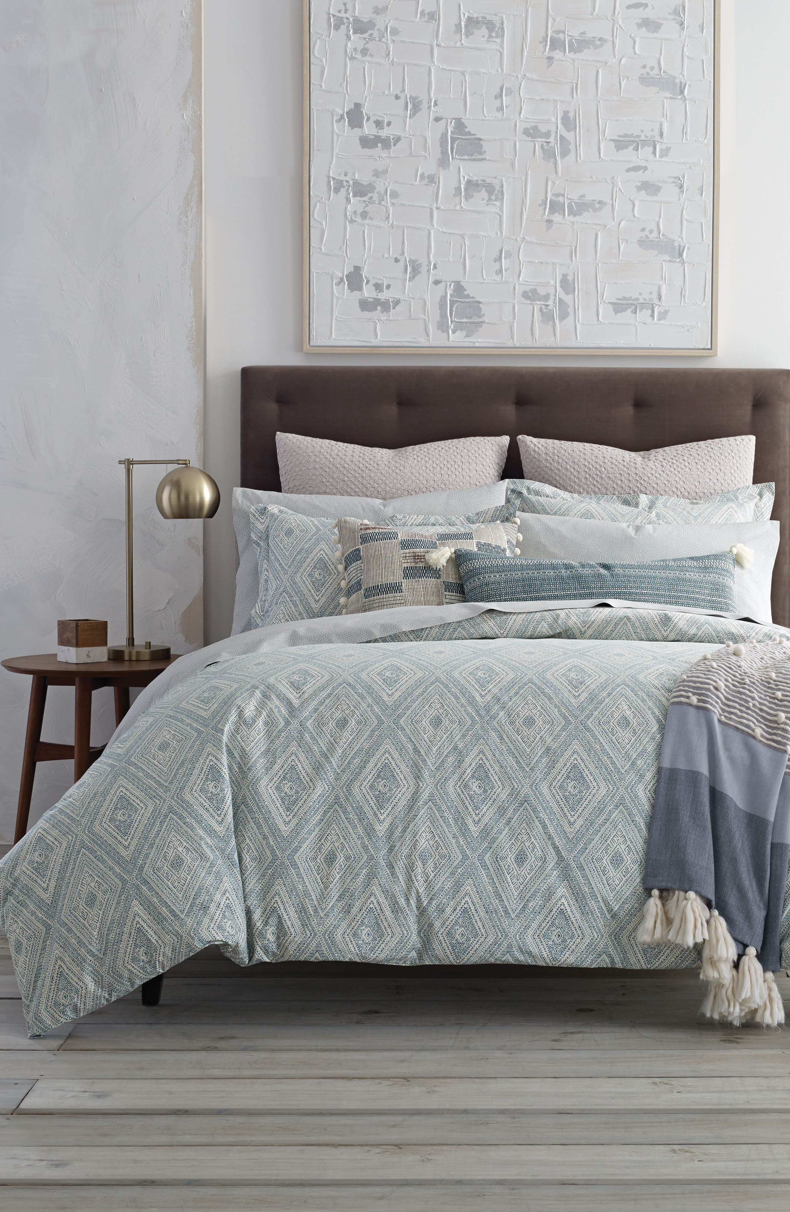 Caspiane 200 Thread Count Comforter,                             Main thumbnail 1, color,                             Turquoise/ Aqua