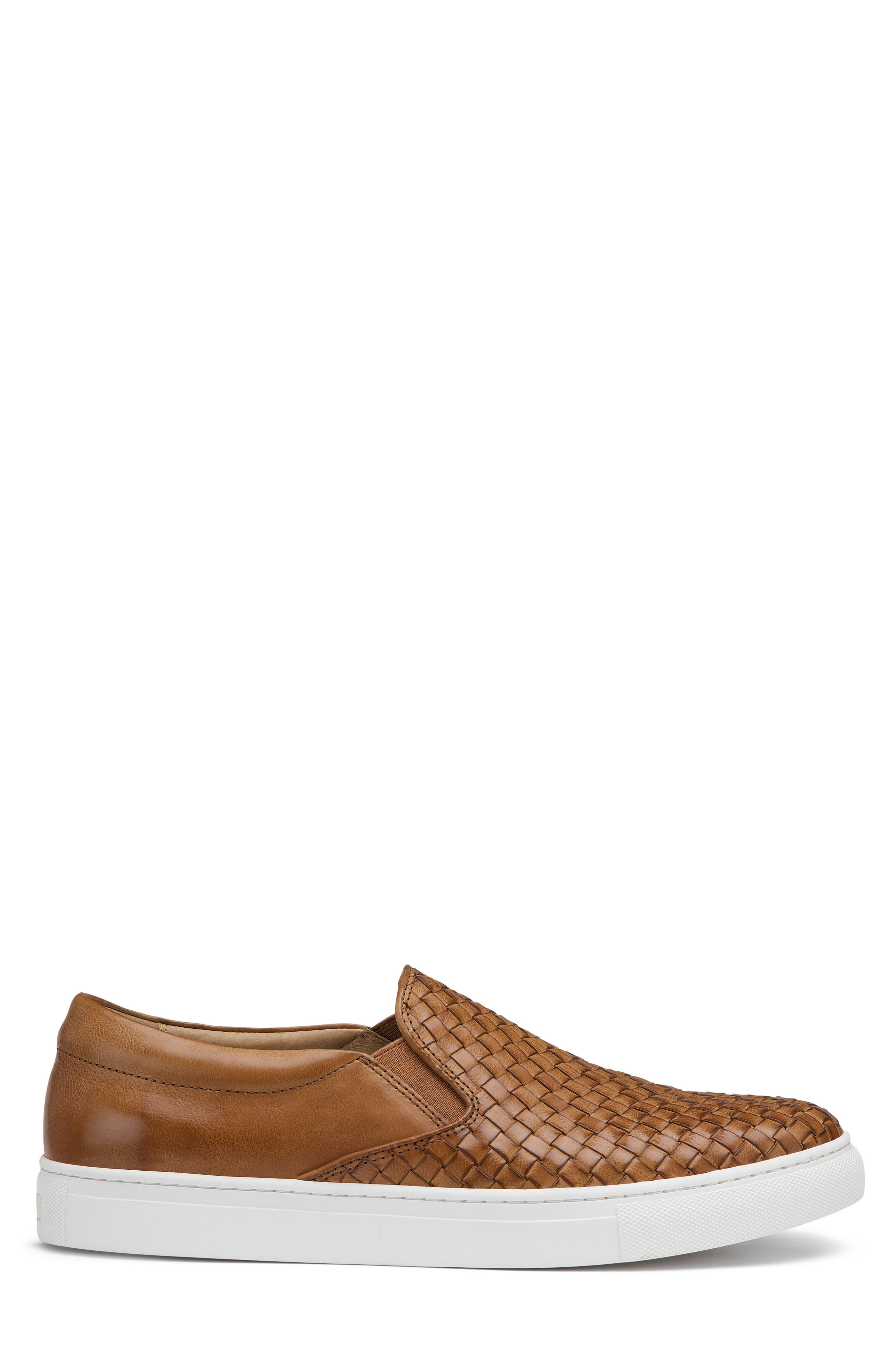 Alex Woven Slip-On Sneaker,                             Alternate thumbnail 3, color,                             Tan Leather
