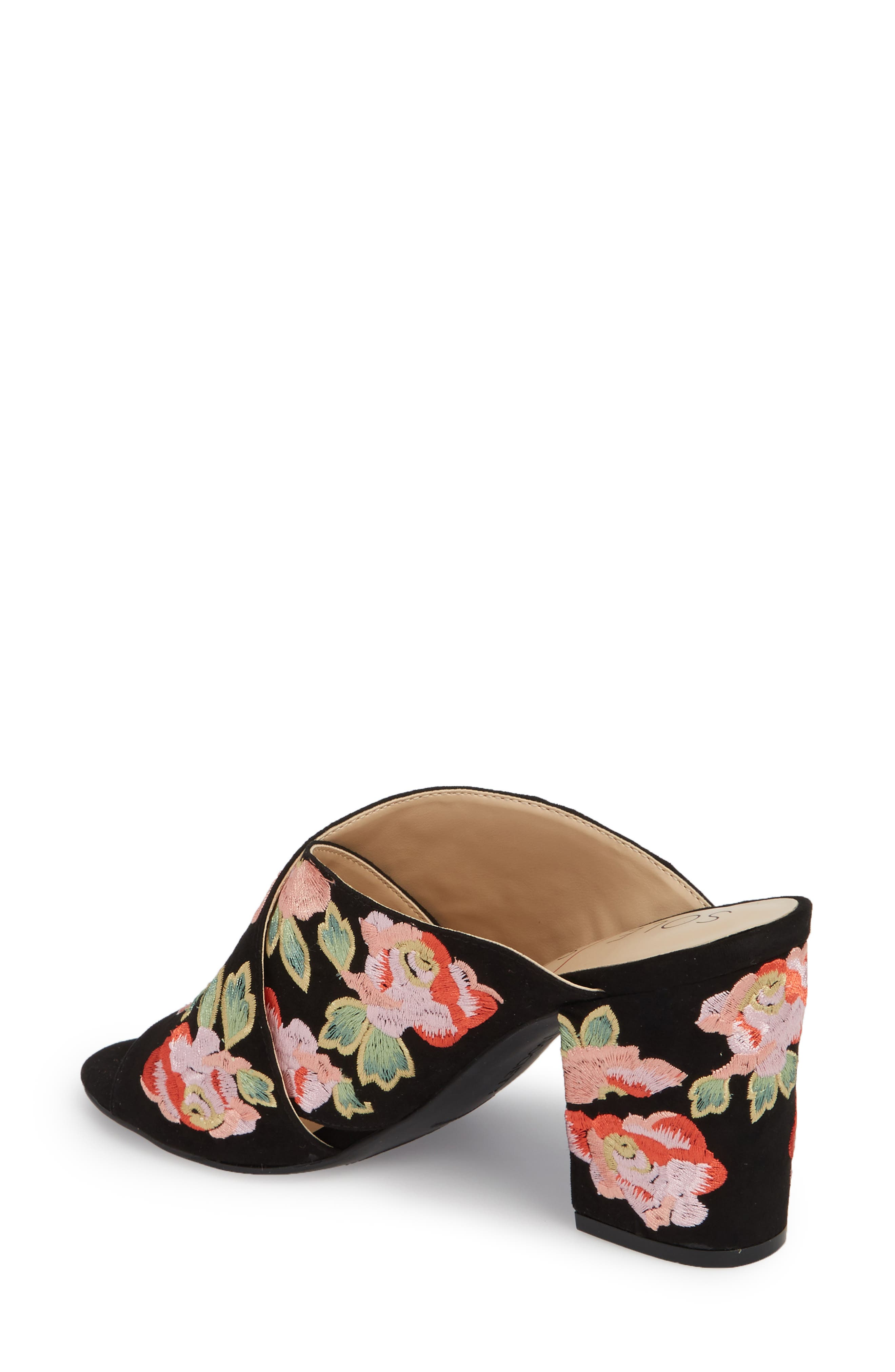 Luella Flower Embroidered Slide,                             Alternate thumbnail 2, color,                             Black/ Coral Multi Embroidery