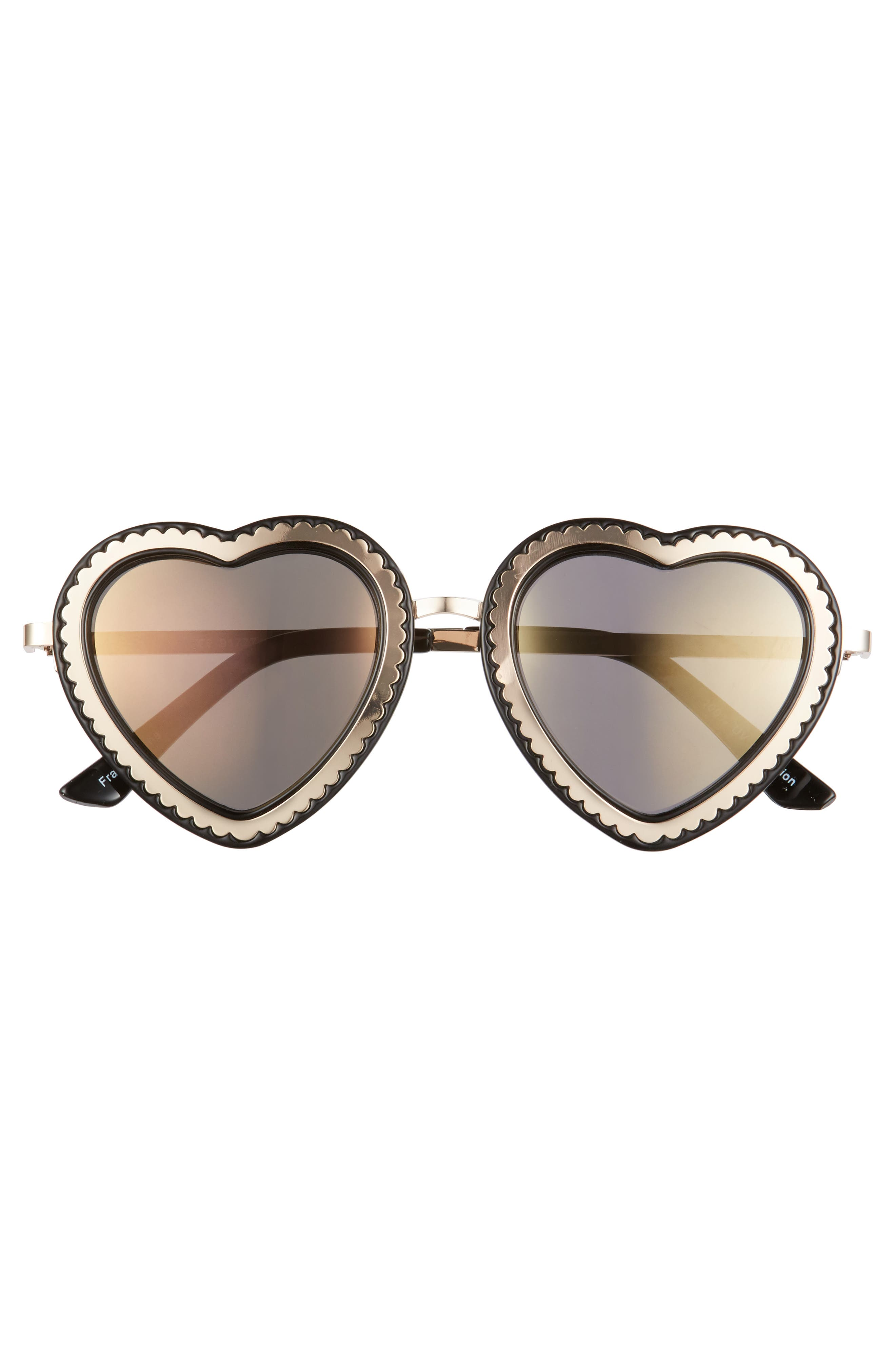 61mm Mirrored Heart Sunglasses,                             Alternate thumbnail 3, color,                             Gold/ Black