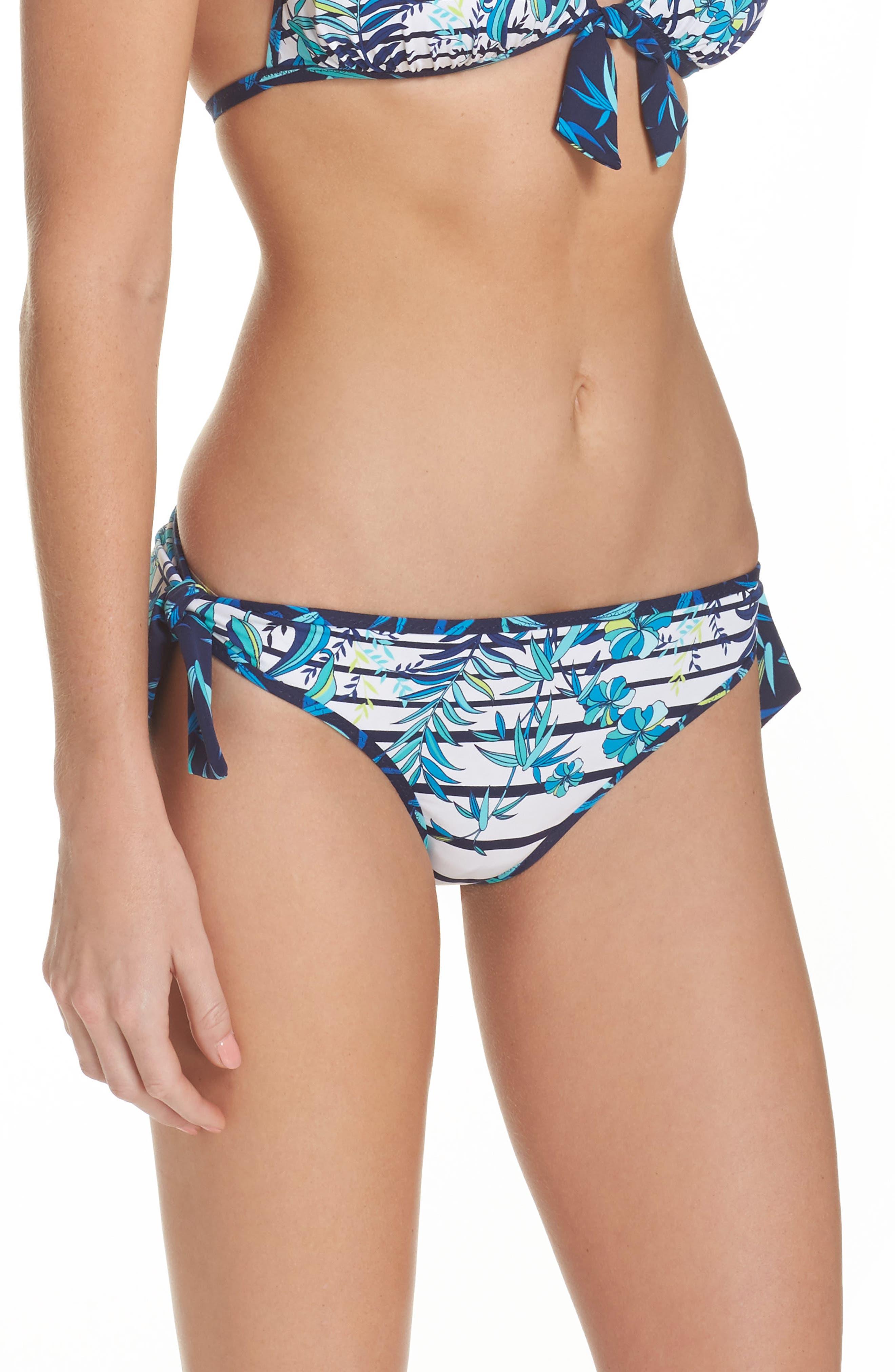 Tropical Swirl Reversible Bikini Bottoms,                             Alternate thumbnail 3, color,                             Blue/ White