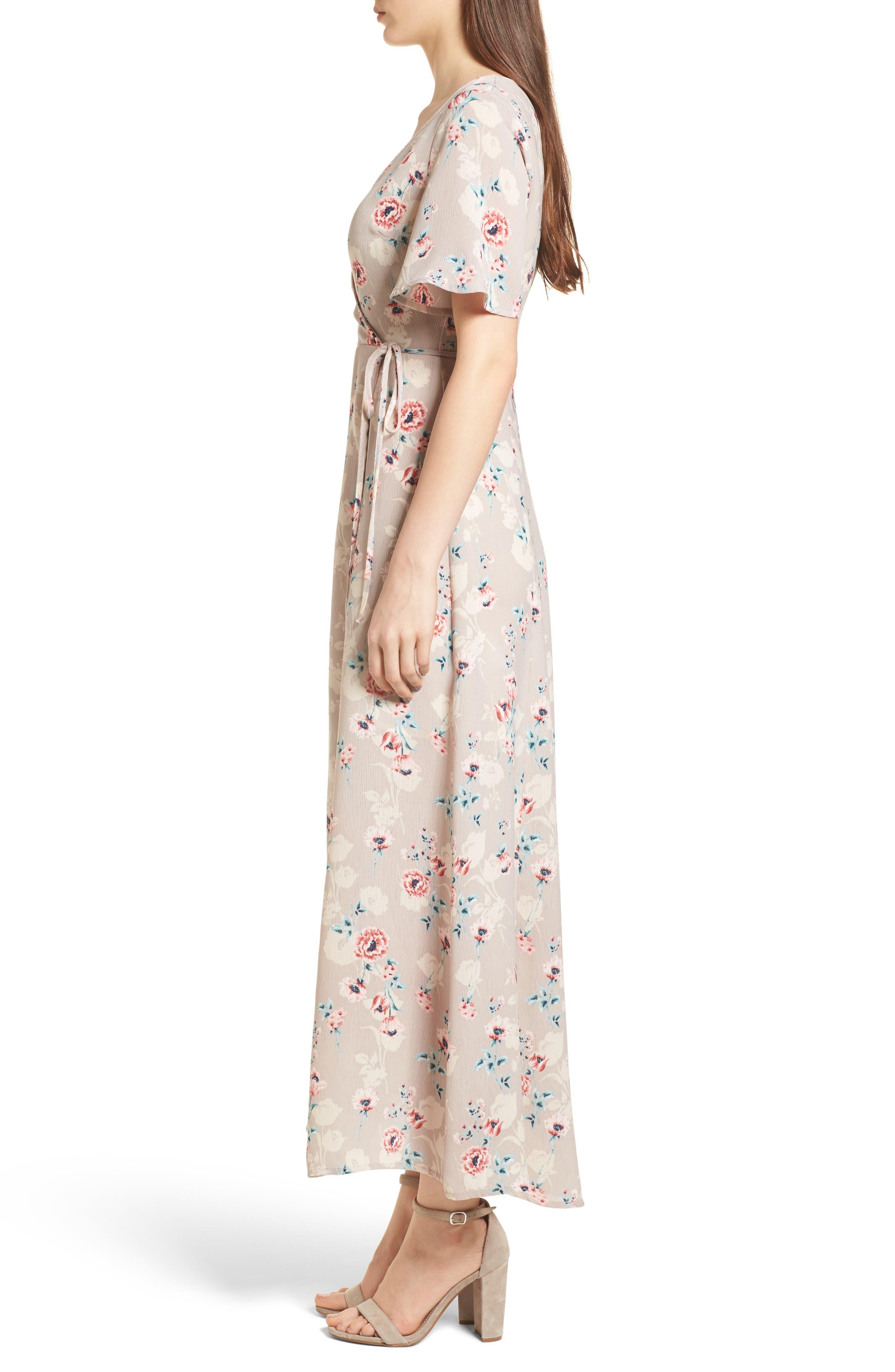 Floral Print Wrap Maxi Dress,                             Alternate thumbnail 3, color,                             Taupe-Rose Floral