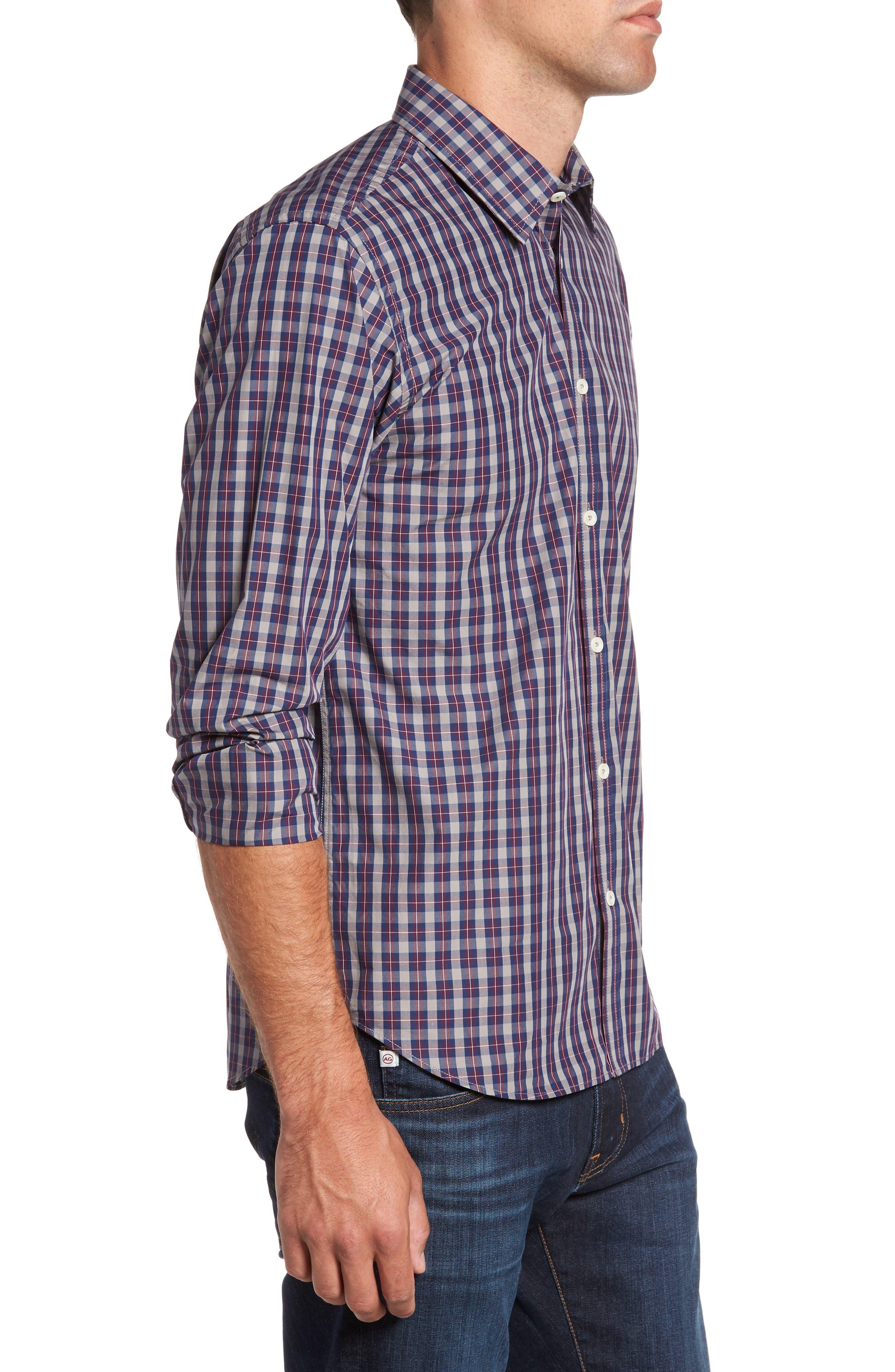 Regular Fit Plaid Sport Shirt,                             Alternate thumbnail 3, color,                             Burgundy
