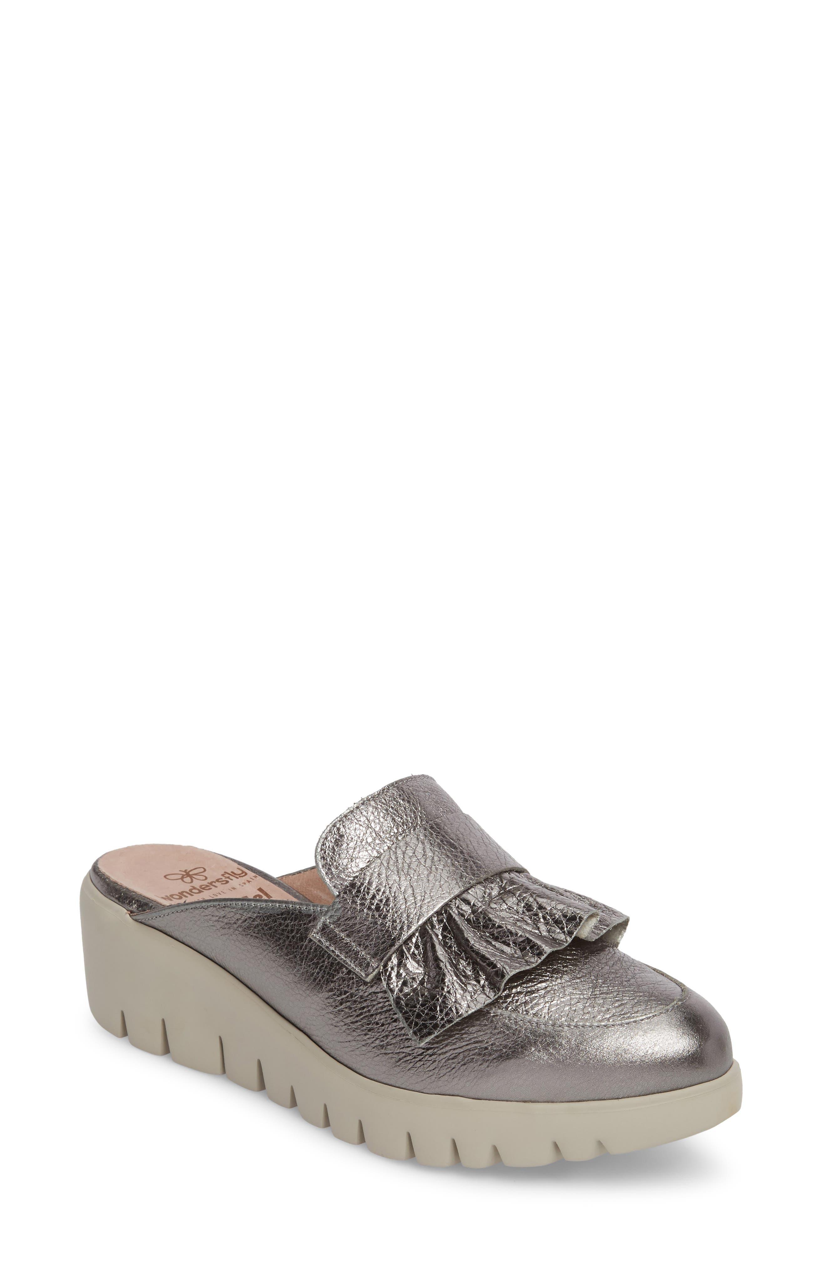 Loafer Mule,                         Main,                         color, Plomo Silver Beige