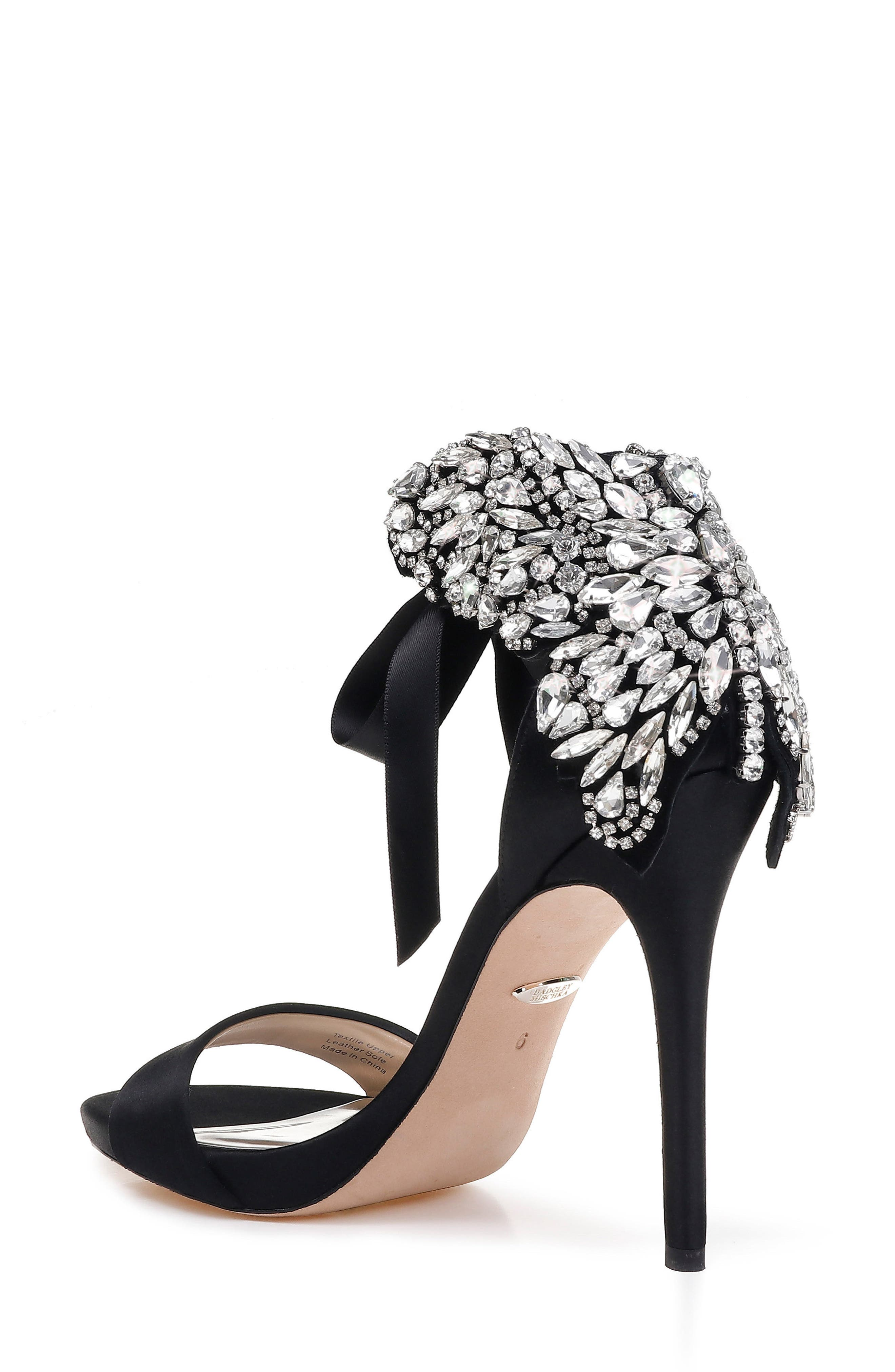Hilda Crystal Embellished Sandal,                             Alternate thumbnail 2, color,                             Black Satin