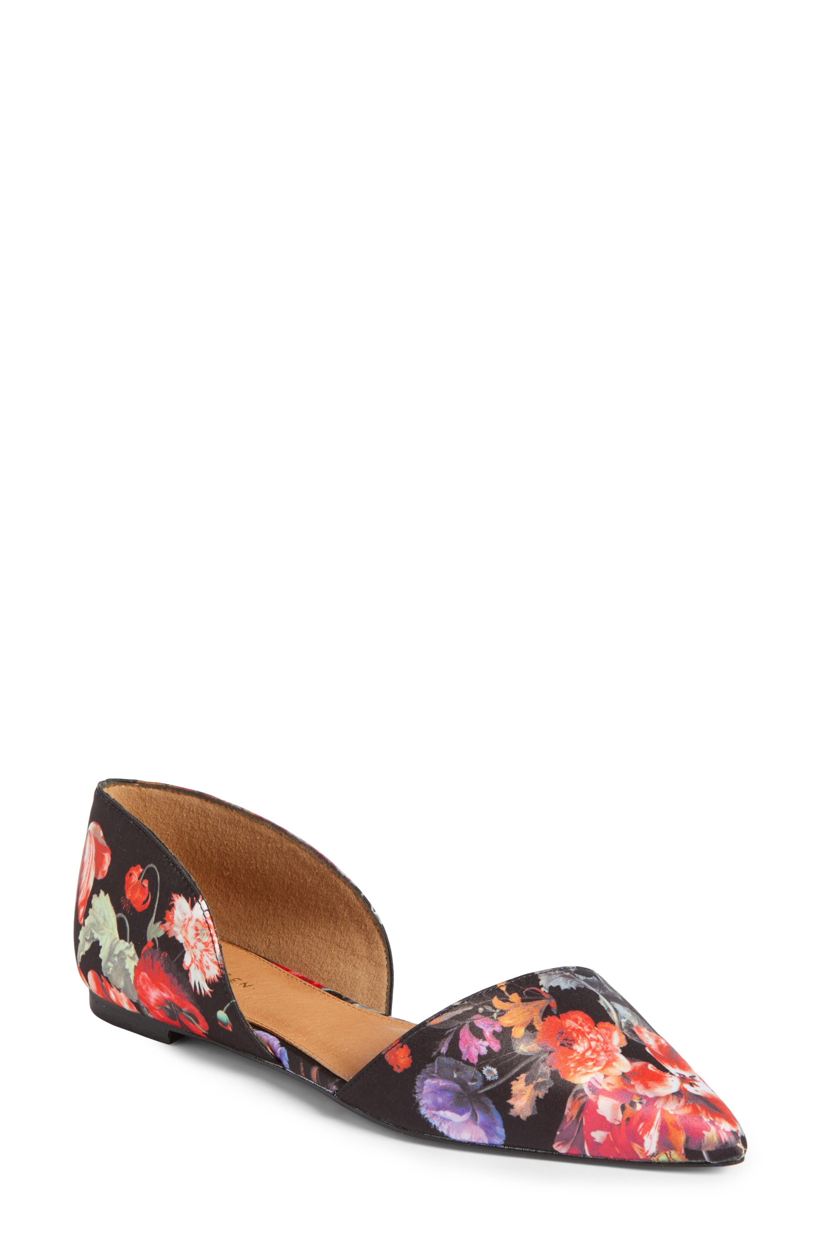Maisy d'Orsay Flat,                             Main thumbnail 1, color,                             Black/ Red Floral Fabric