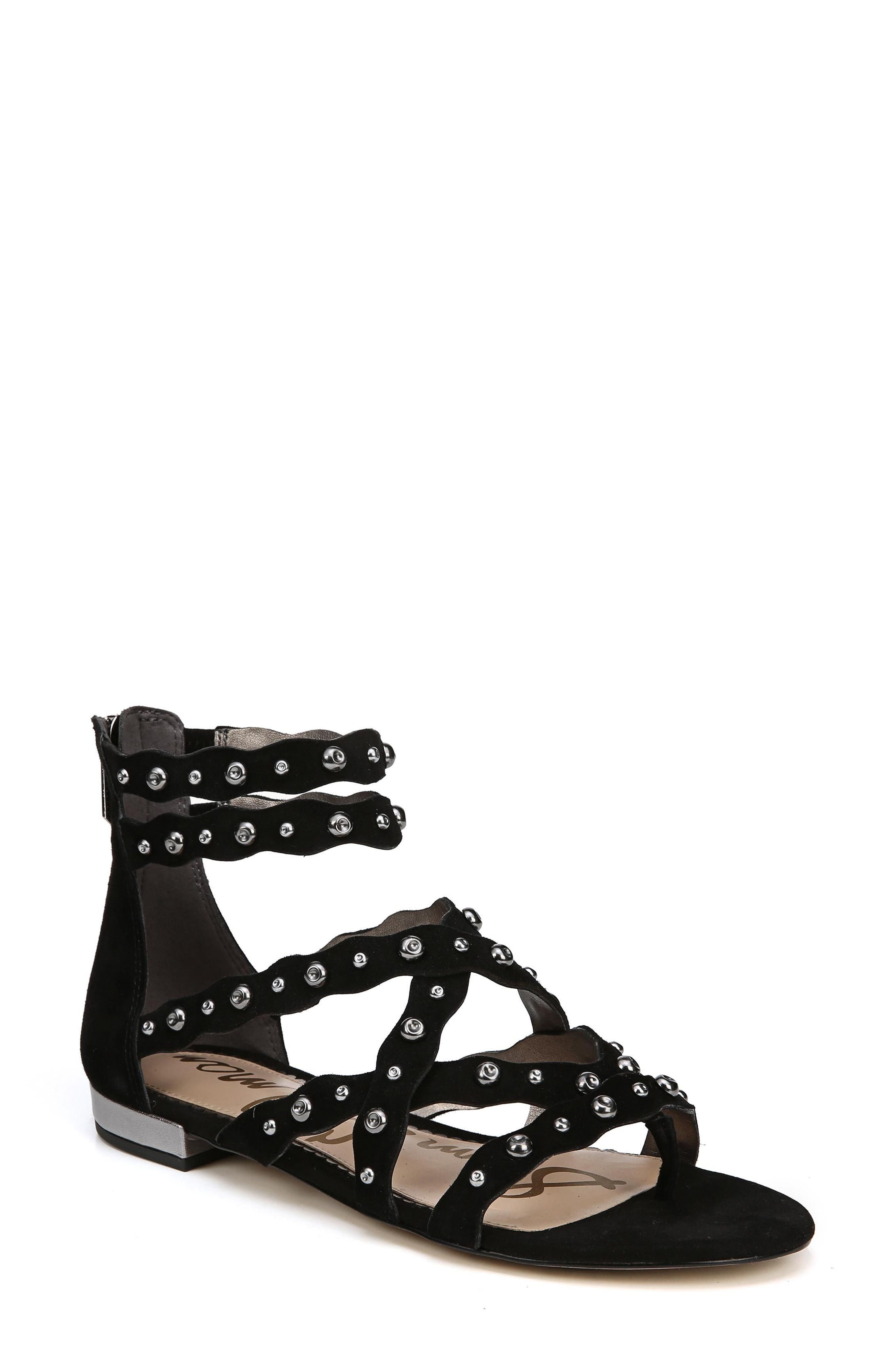 Daya Studded Sandal,                             Main thumbnail 1, color,                             Black Suede