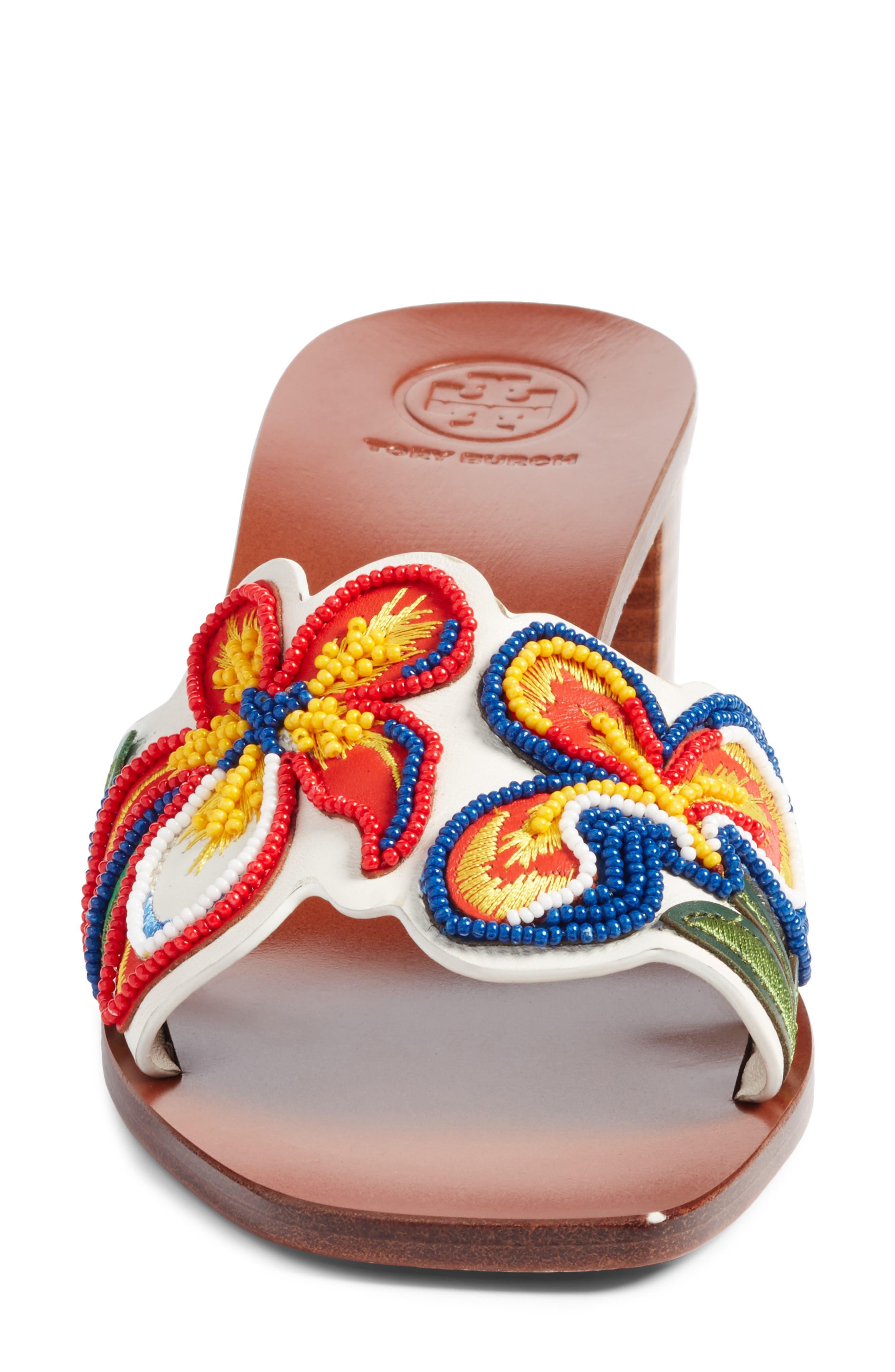 Bianca Floral Embellished Slide Sandal,                             Alternate thumbnail 4, color,                             Perfect Ivory/ Multi Color