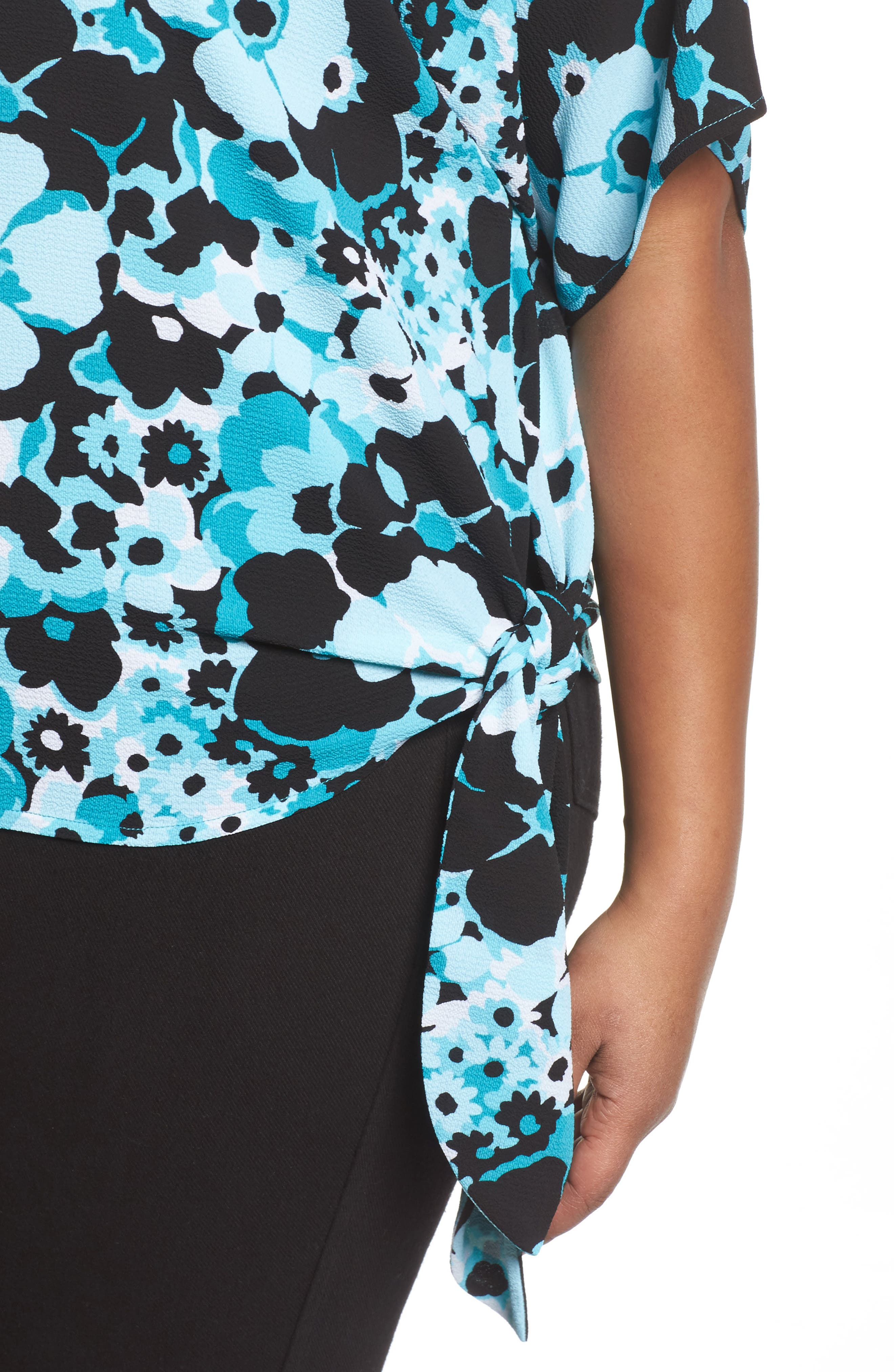 Spring Side Tie Crepe Top,                             Alternate thumbnail 4, color,                             Tile Blue/ Black Multi