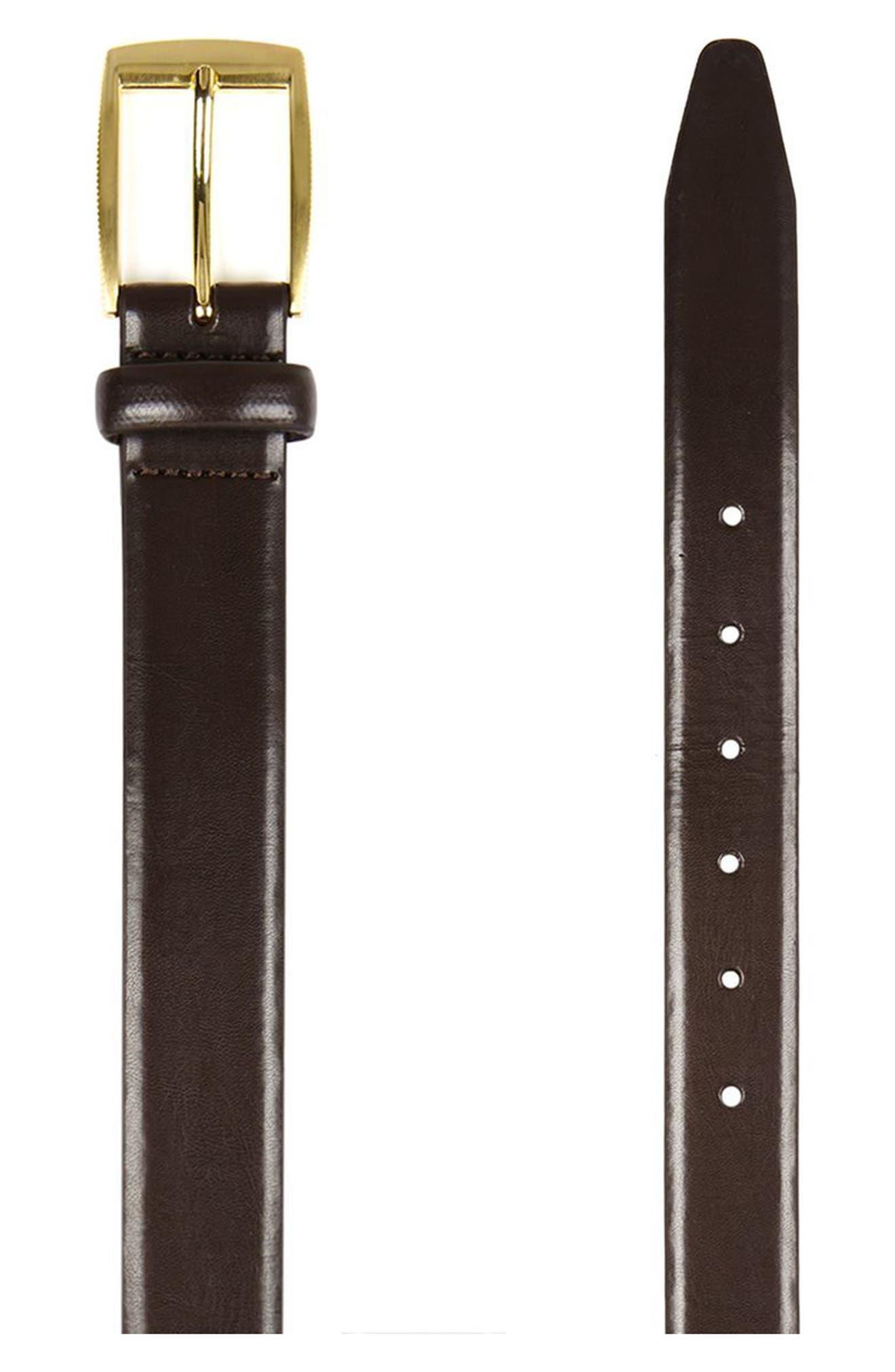 Brown Leather Belt,                             Alternate thumbnail 2, color,                             Dark Brown