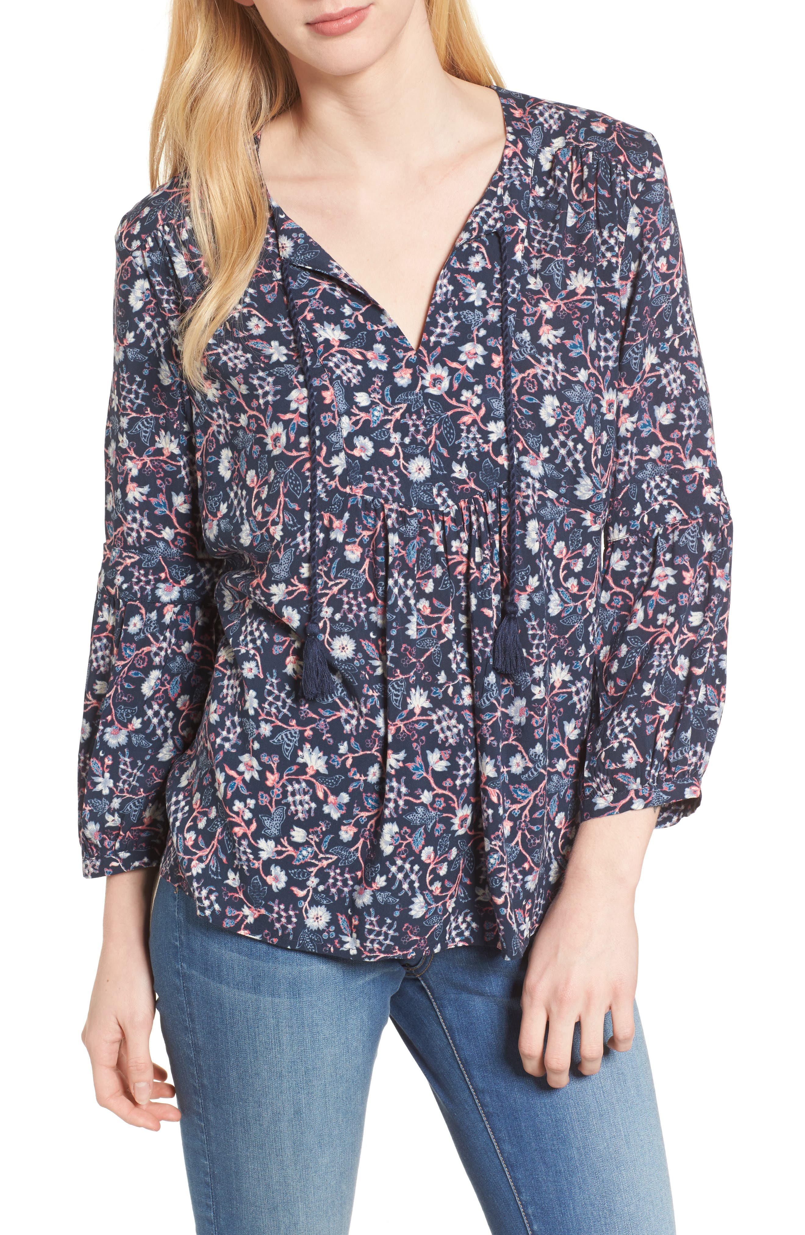Caslon® Print Split Neck Boho Top (Regular & Petite)