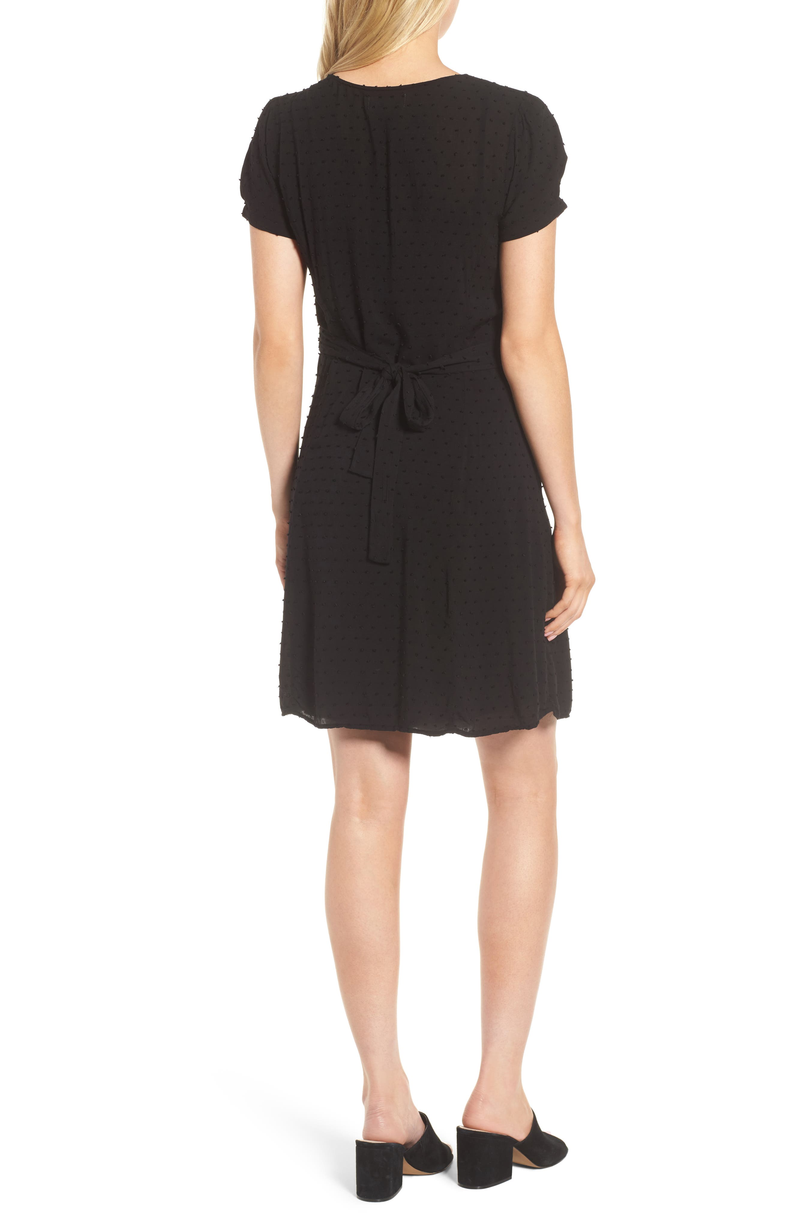 Swiss Dot Shirtdress,                             Alternate thumbnail 2, color,                             Black