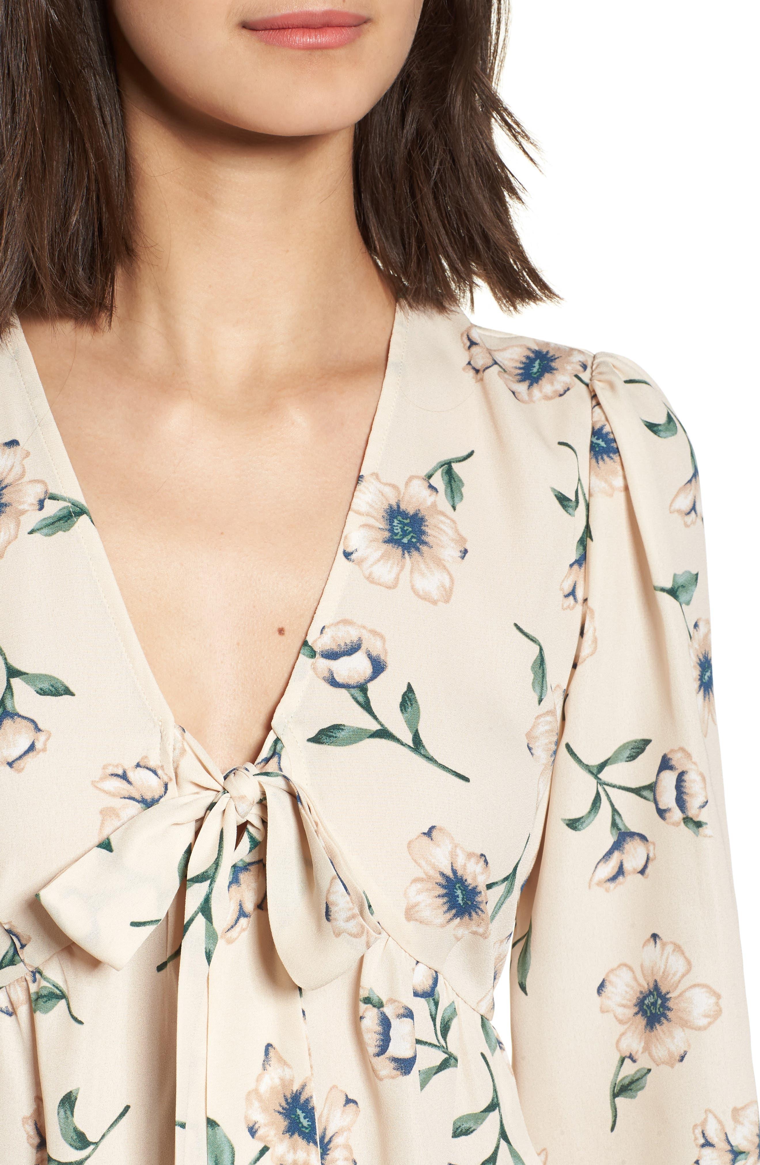 Tie Front Shirt,                             Alternate thumbnail 4, color,                             Beige Multi