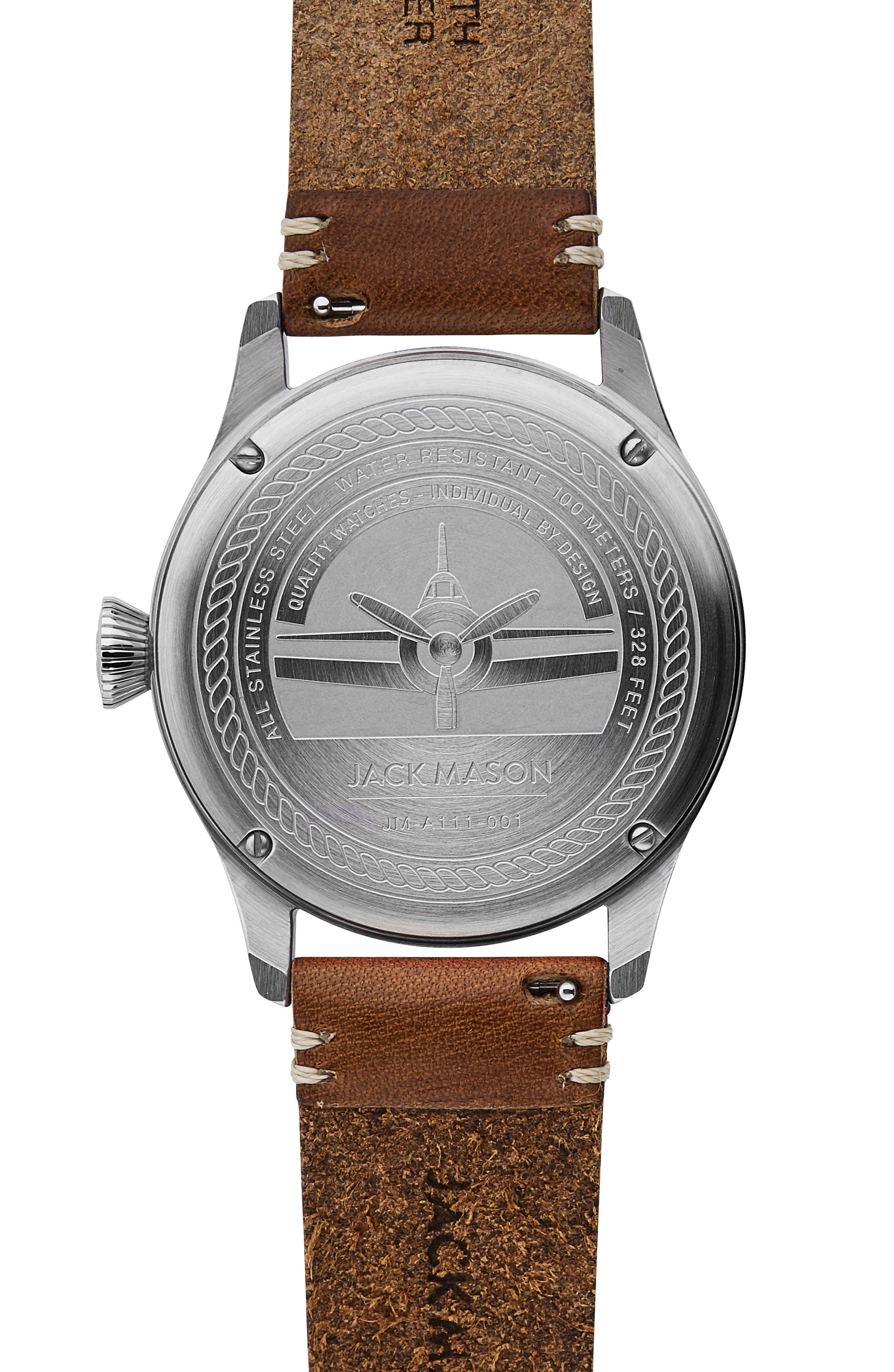Aviation II Leather Strap Watch, 42mm,                             Alternate thumbnail 2, color,                             Navy/ Brown