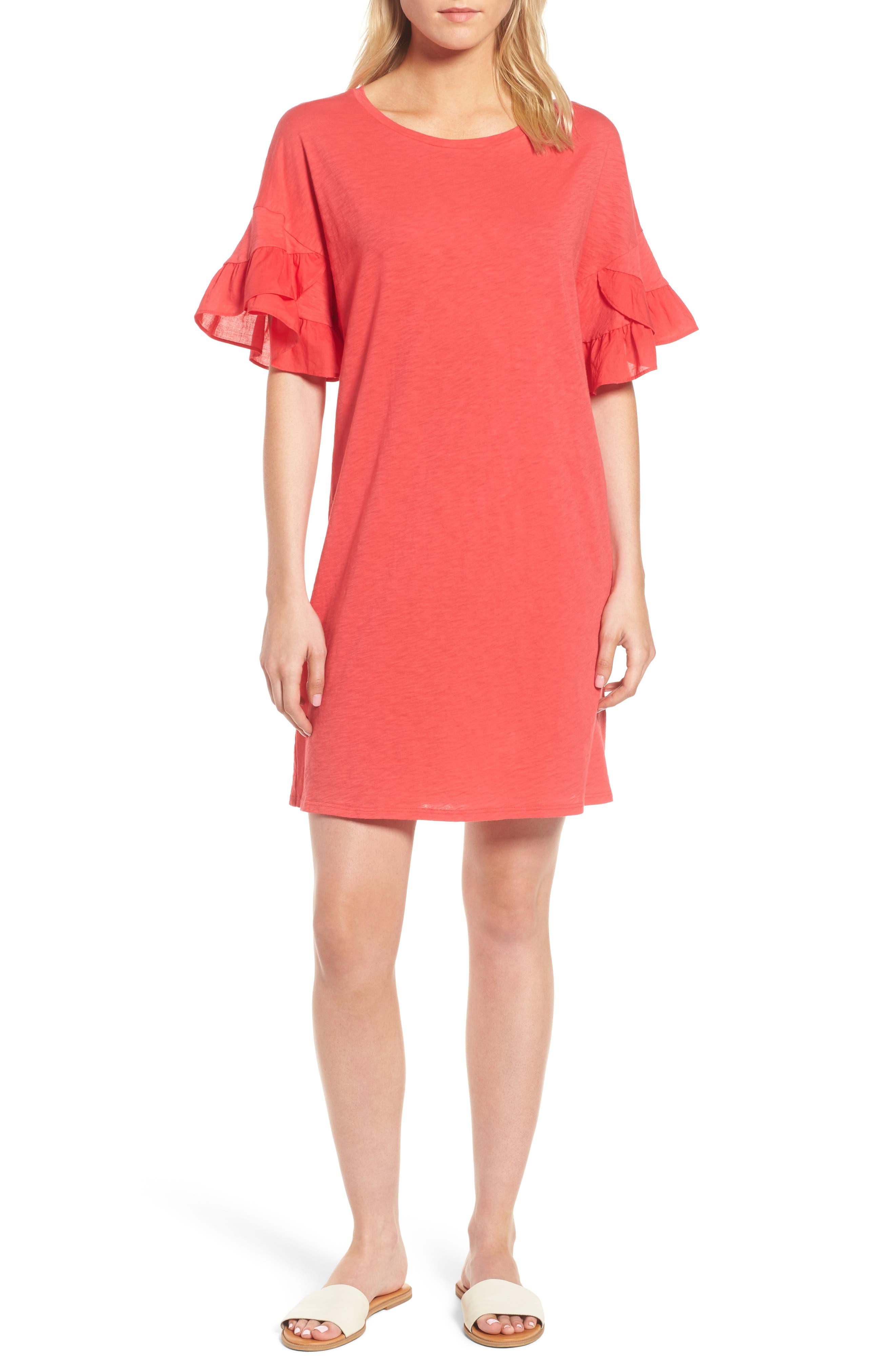 Velvet by Graham & Spencer Slub Cotton Ruffle Sleeve Dress