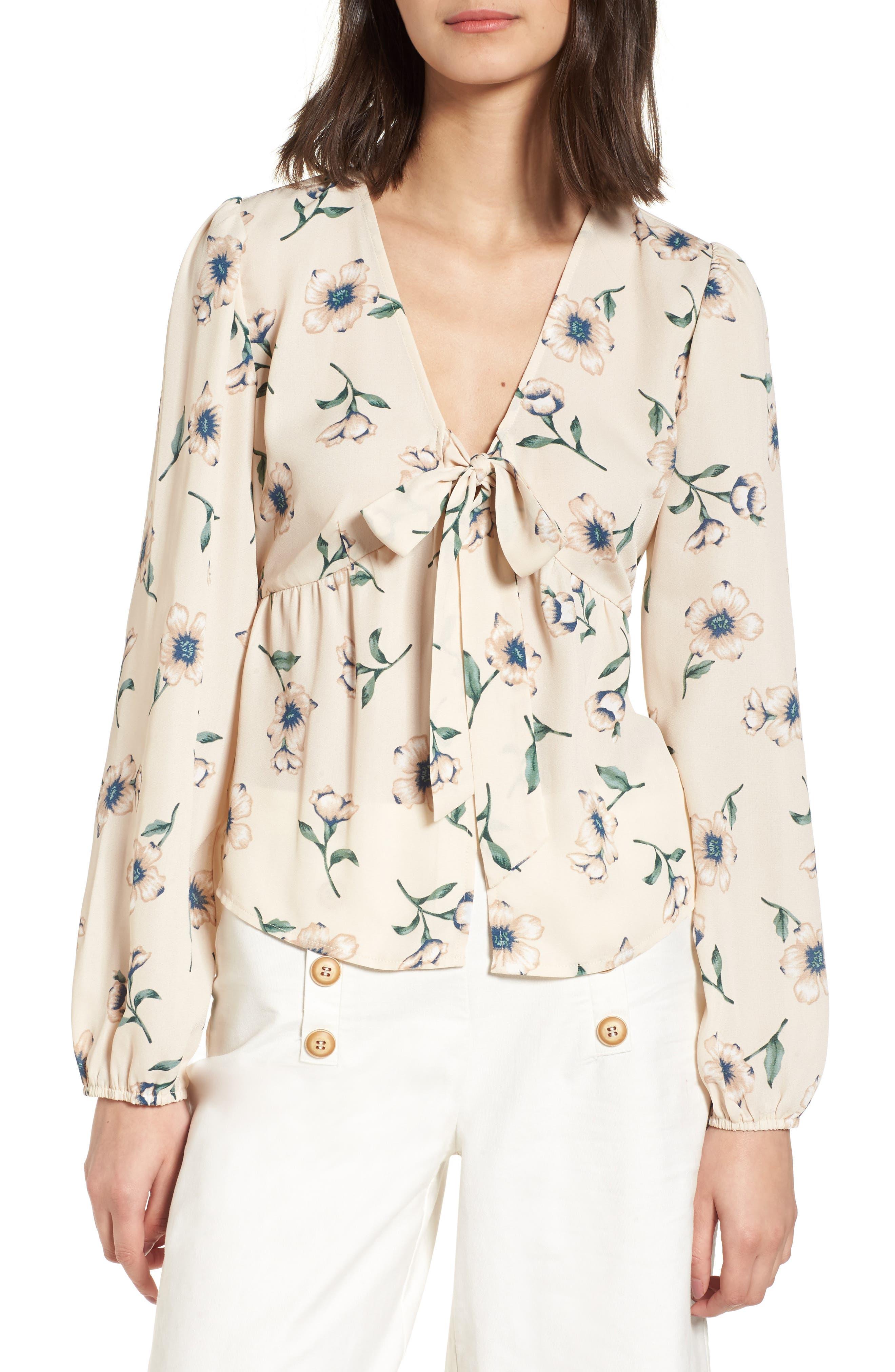 Tie Front Shirt,                             Main thumbnail 1, color,                             Beige Multi