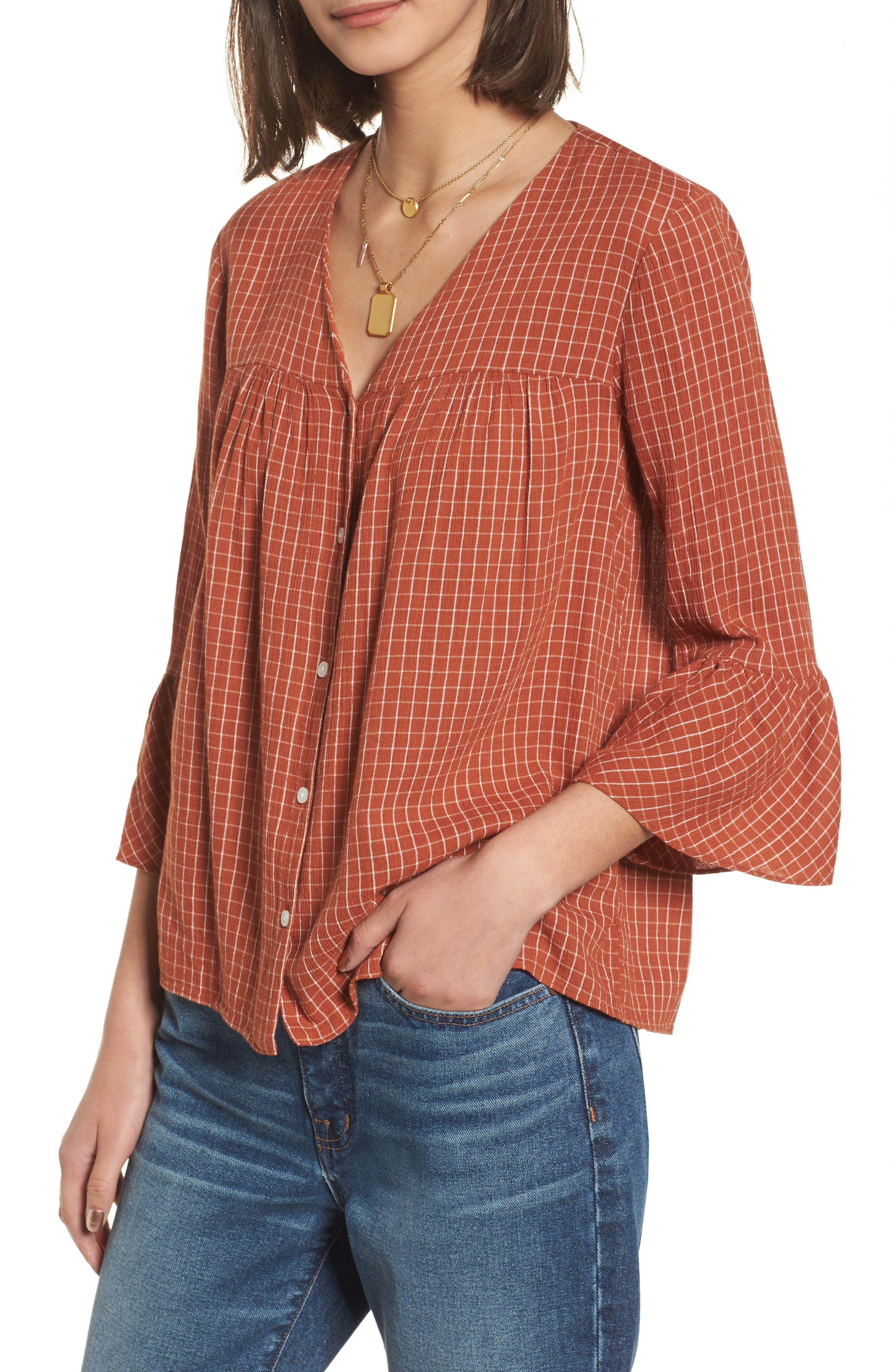 Veranda Bell Sleeve Shirt,                         Main,                         color, Warm Nutmeg