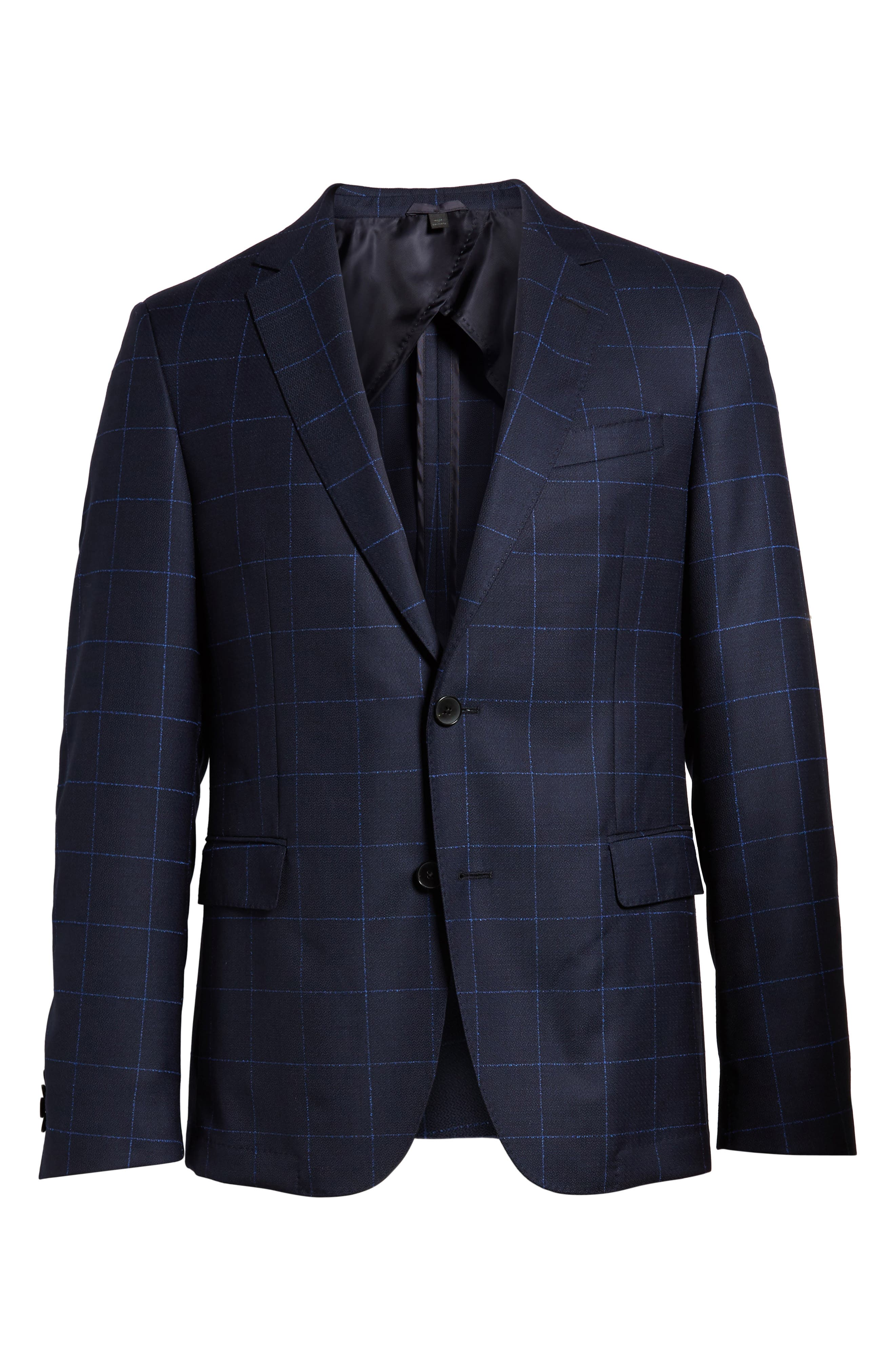 Nordstrom x BOSS Nobis Trim Fit Check Wool Sport Coat,                             Alternate thumbnail 6, color,                             Navy