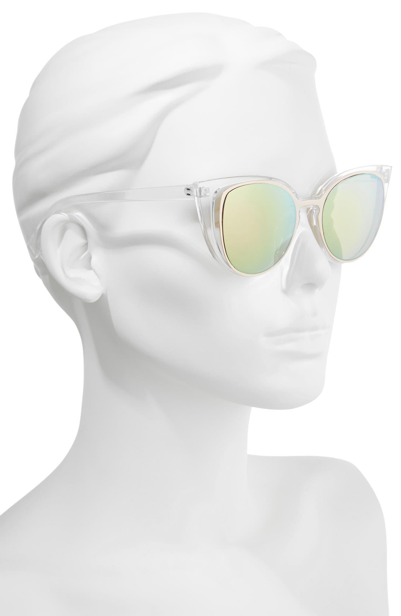 56mm Cutout Cat Eye Sunglasses,                             Alternate thumbnail 2, color,                             Clear/ Multi