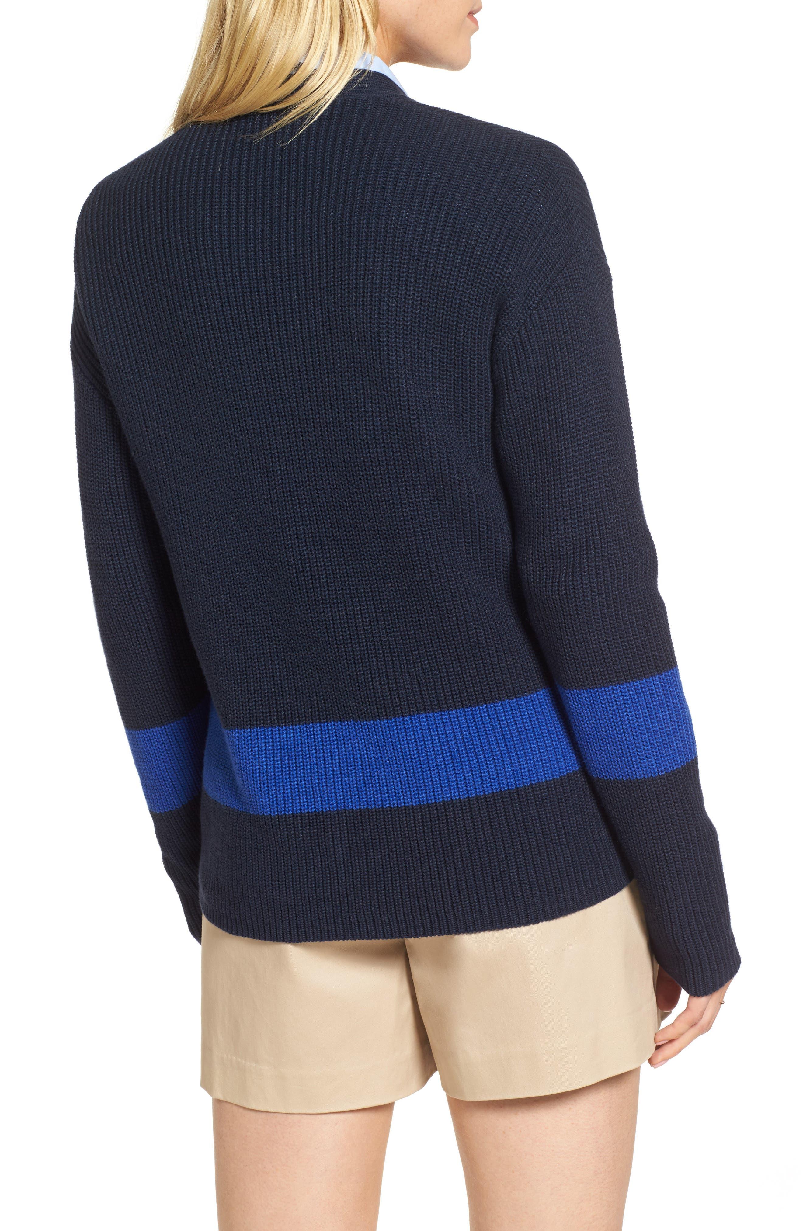 Shaker Knit Cardigan,                             Alternate thumbnail 2, color,                             Navy- Blue Colorblock