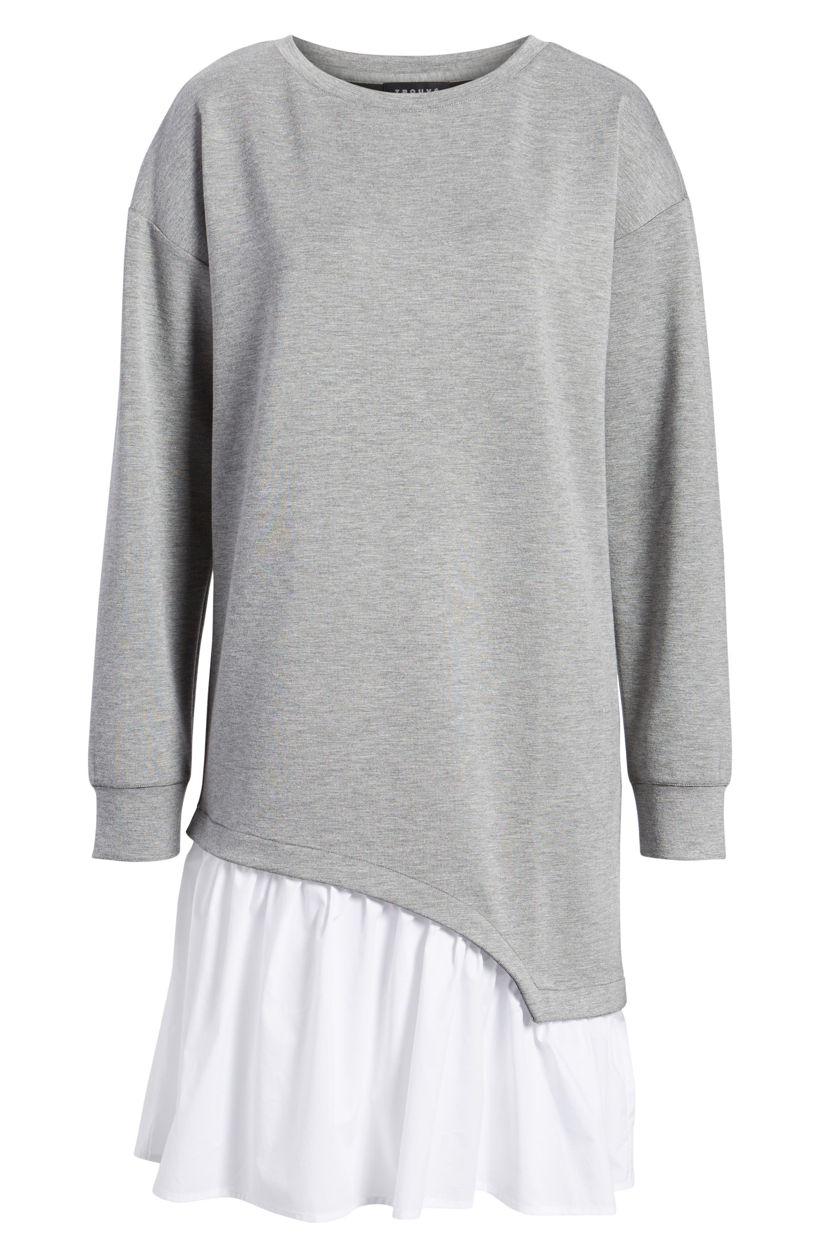 Mixed Media Sweatshirt Dress,                             Alternate thumbnail 6, color,                             Grey Heather