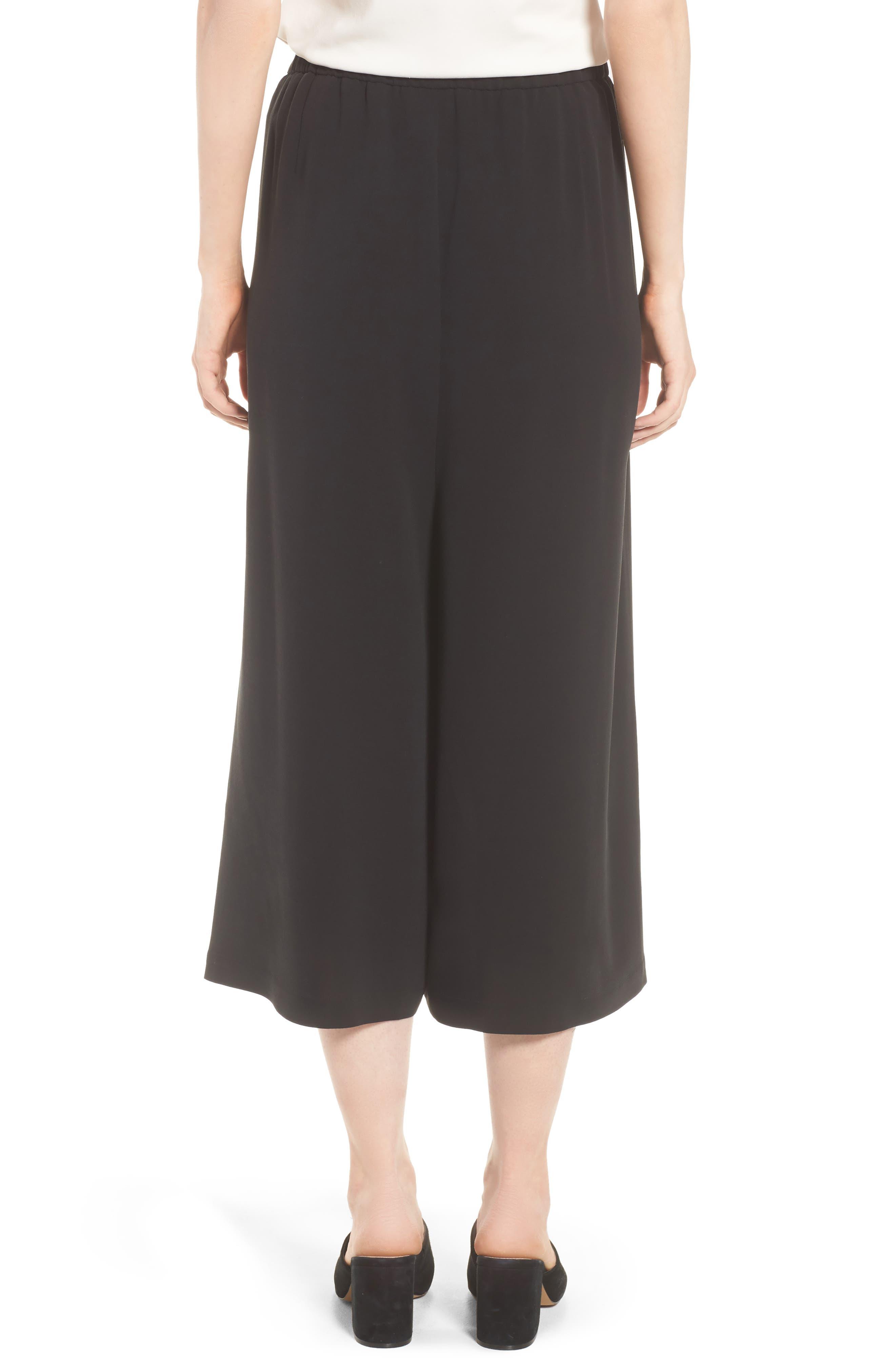 Crop Silk Pants,                             Alternate thumbnail 2, color,                             Black