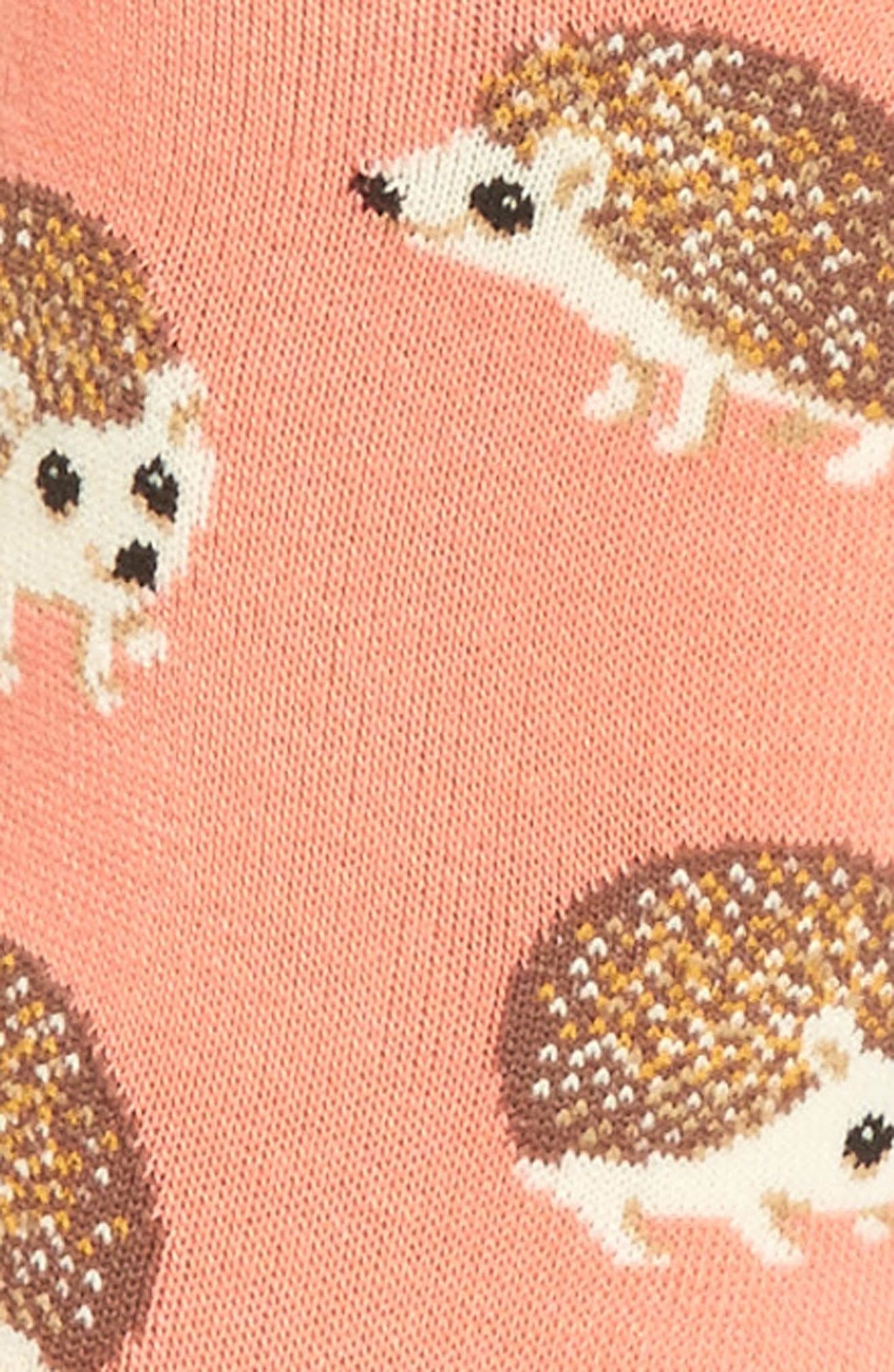 Hedgehog Crew Socks,                             Alternate thumbnail 3, color,                             Coral